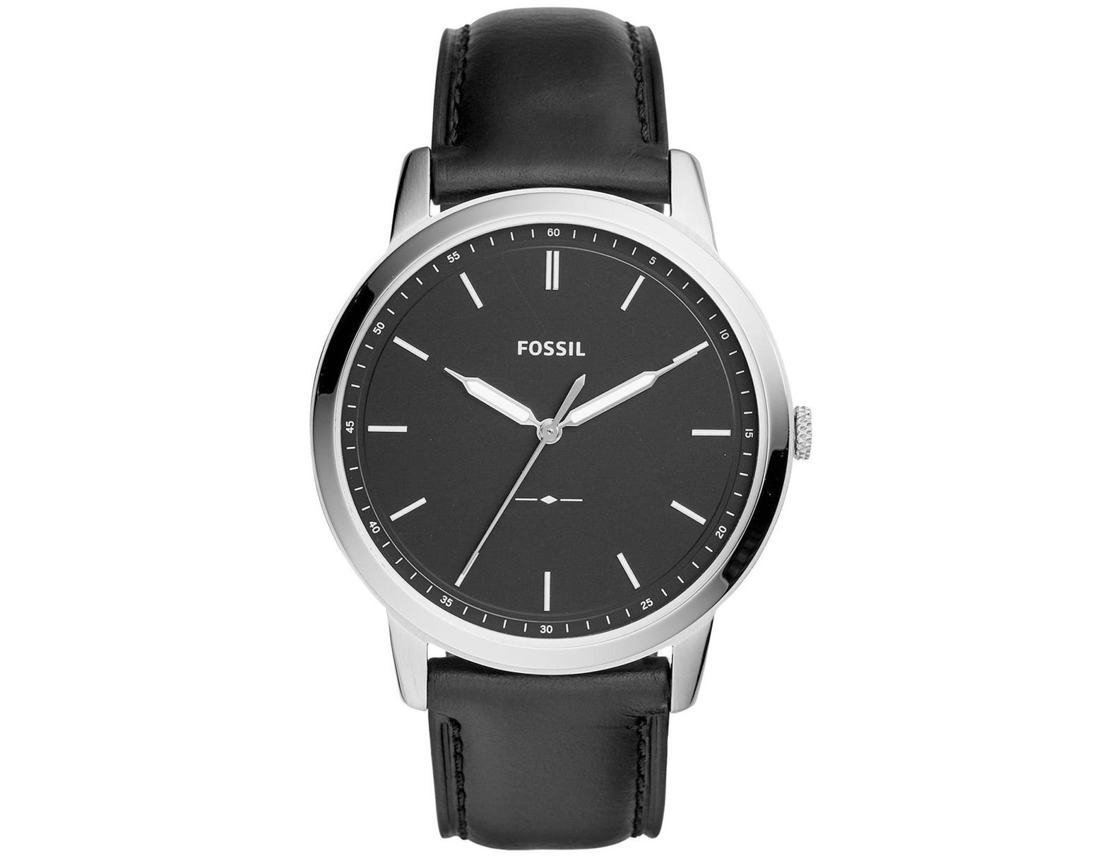 d02663d93 Fossil Men's Minimalist Black Leather Strap Watch 44mm in Black for Men -  Save 40% - Lyst