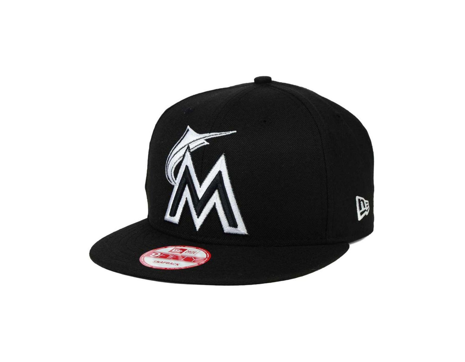 best website bc18d 11183 KTZ Miami Marlins Mlb Black White 9fifty Snapback Cap in Black for Men -  Lyst