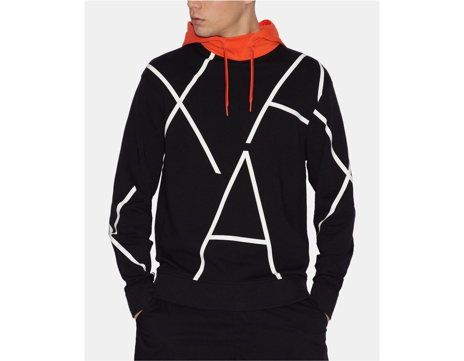 319f589ff1fe51 Armani Exchange Logo Hoodie in Black for Men - Lyst