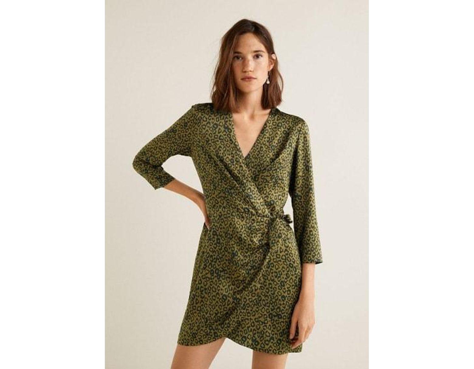 611cbb6103ace5 Mango Leopard Print Wrap Dress Khaki in Natural - Lyst