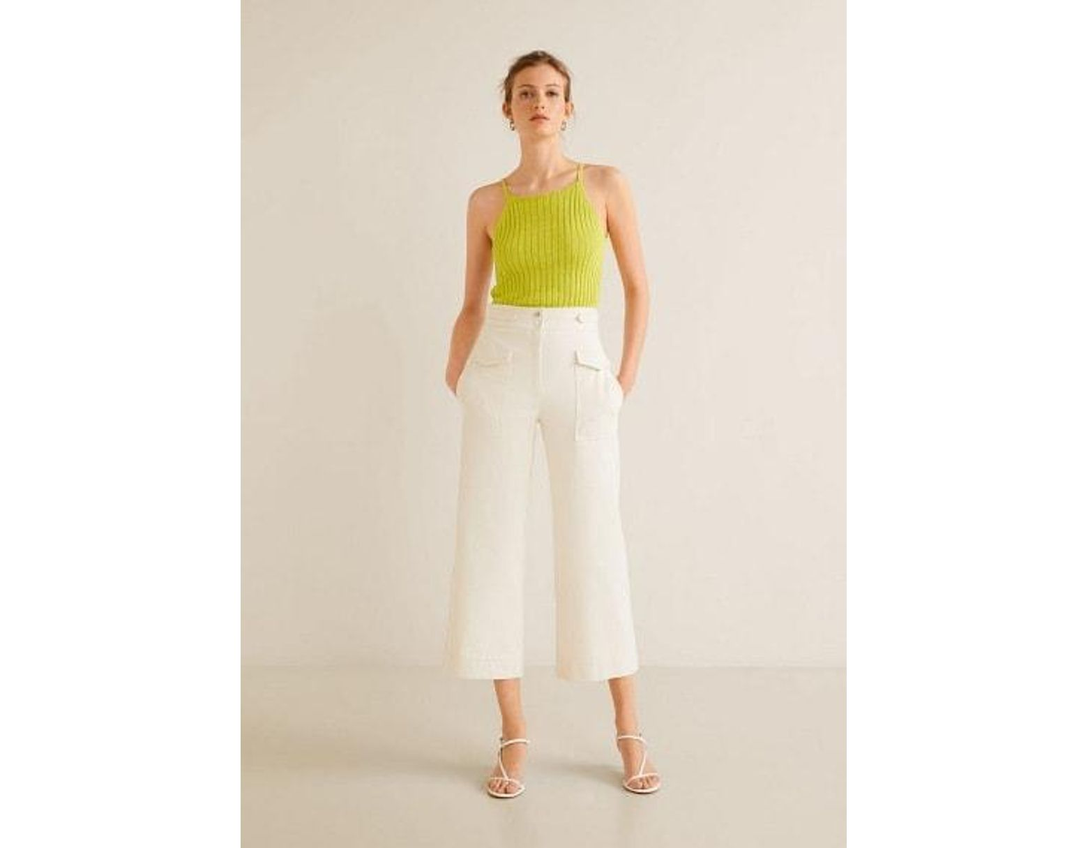 f8f0e5ef41e69e Mango Flared Cotton Trousers Off White in White - Lyst
