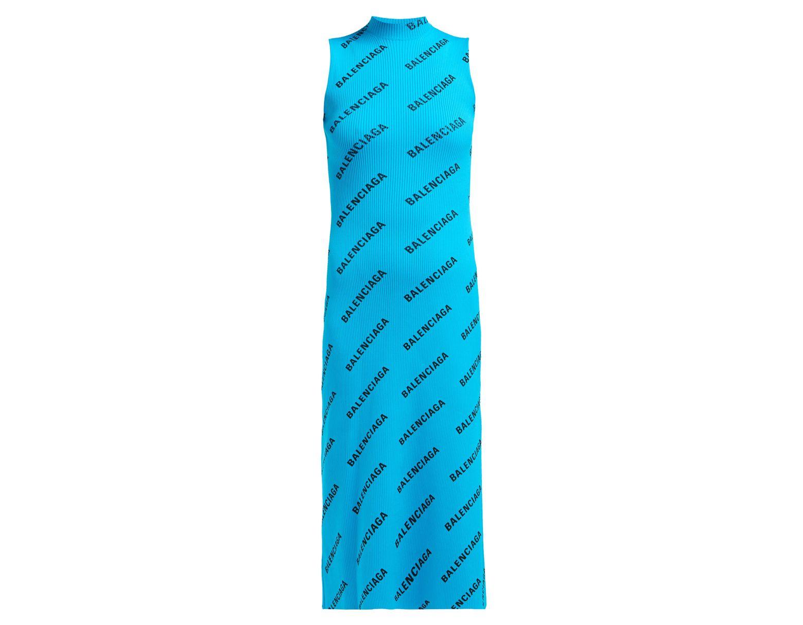 bb86ac082c4 Balenciaga Logo Print Ribbed Wrap Midi Dress in Blue - Lyst
