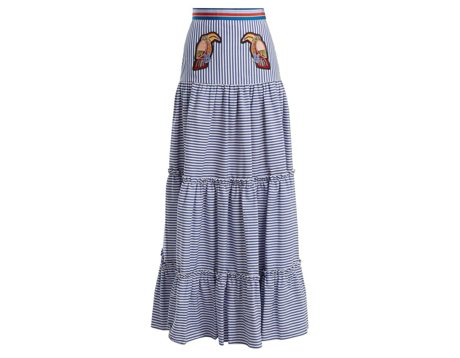27a44fa80b Stella Jean Tiered Striped Maxi Skirt in Blue - Lyst
