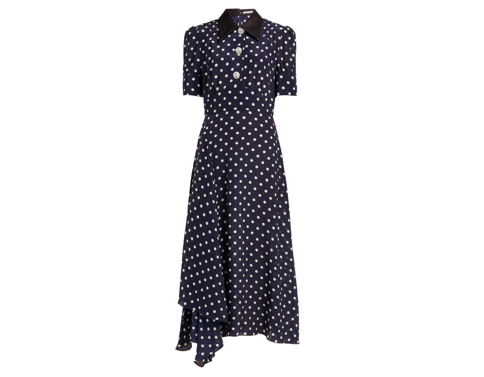 5f0ab9a7365b Alessandra Rich Embellished Polka Dot Dress in Blue - Save 51% - Lyst