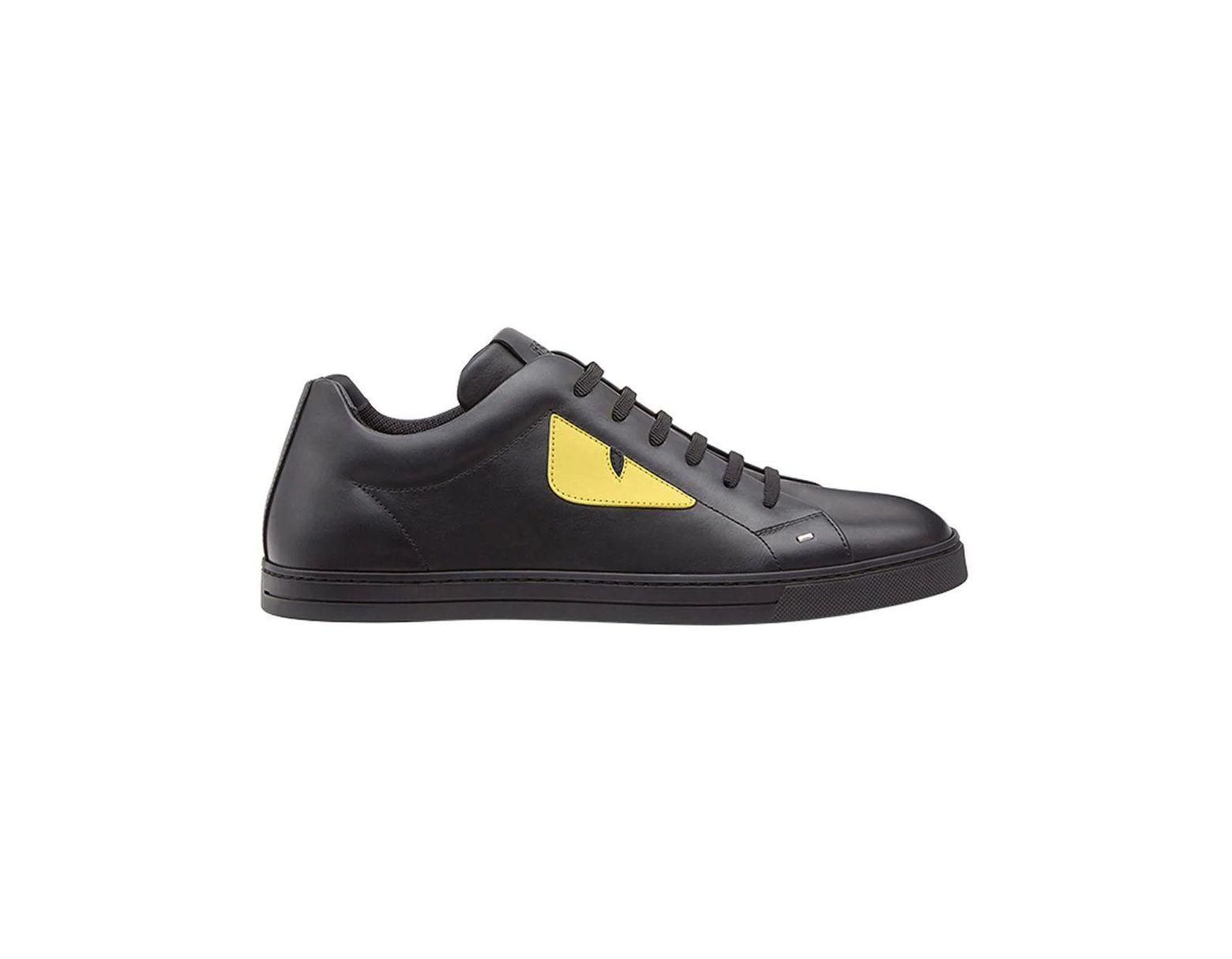 f80c124889 Fendi - Black Leather Sneakers for Men - Lyst