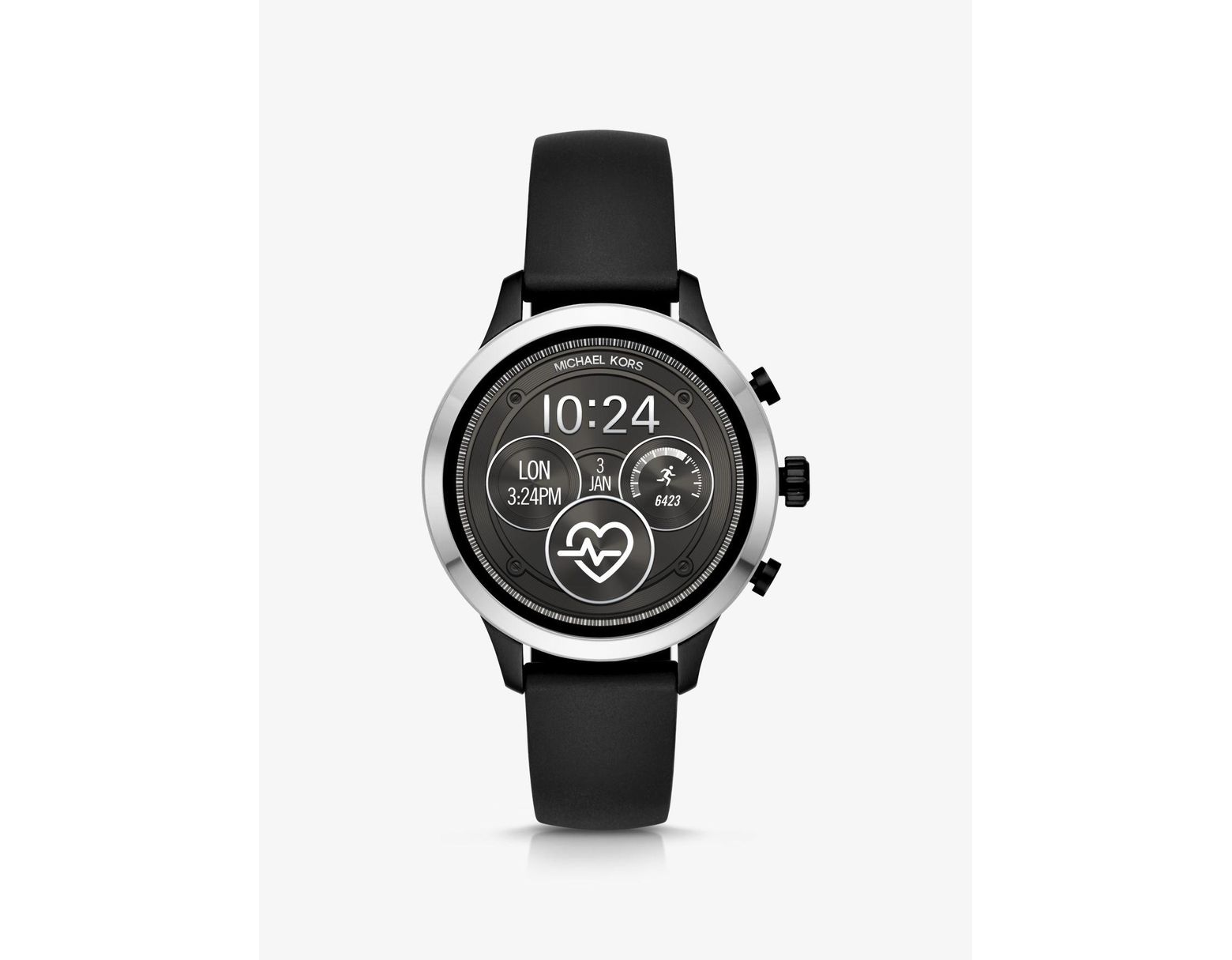 b79d8e5464 Michael Kors Runway Heart Rate Silver-tone And Silicone Smartwatch in Black  - Lyst