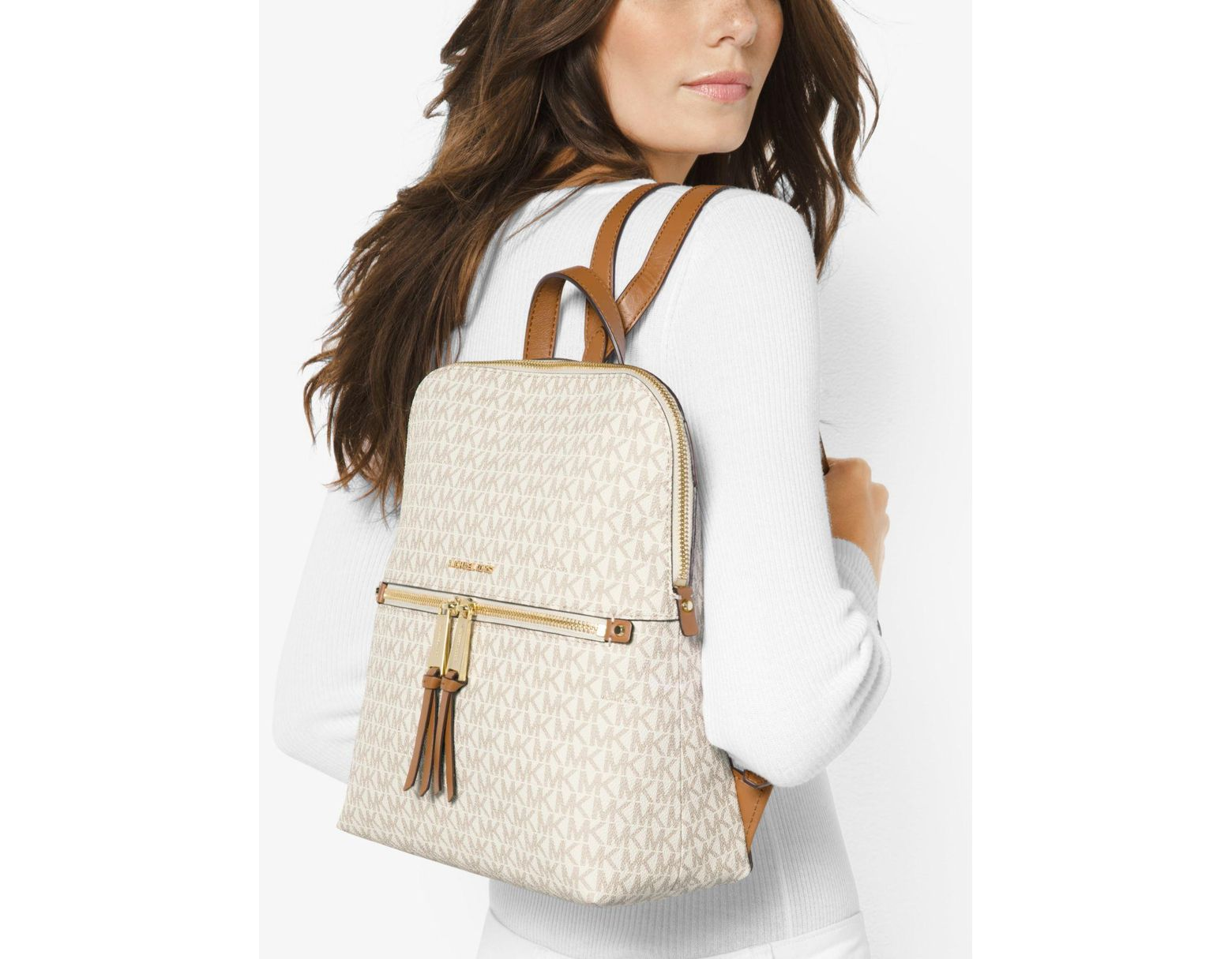 e1a65fb6d9c4 Michael Kors Rhea Medium Slim Logo Backpack in Natural - Save 27% - Lyst