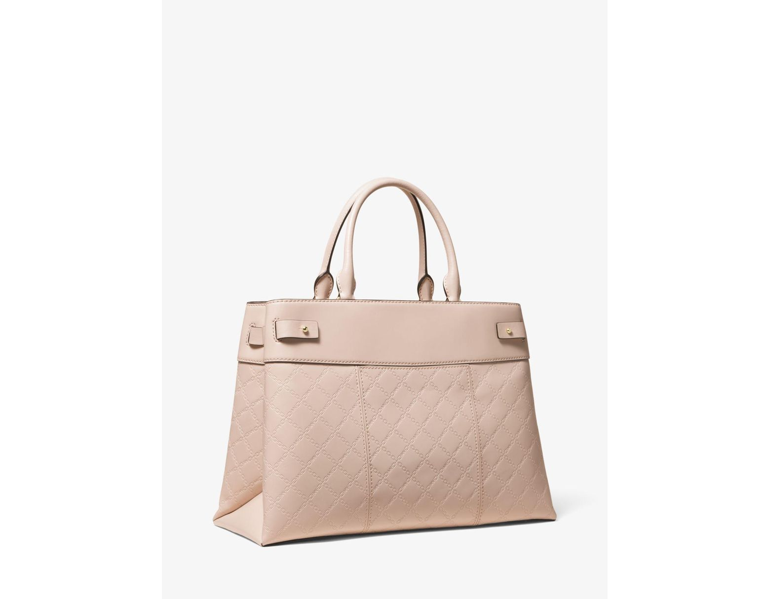 8d0e3ac15ca8 Michael Kors Gramercy Large Chain-embossed Leather Satchel in Pink - Save  55% - Lyst