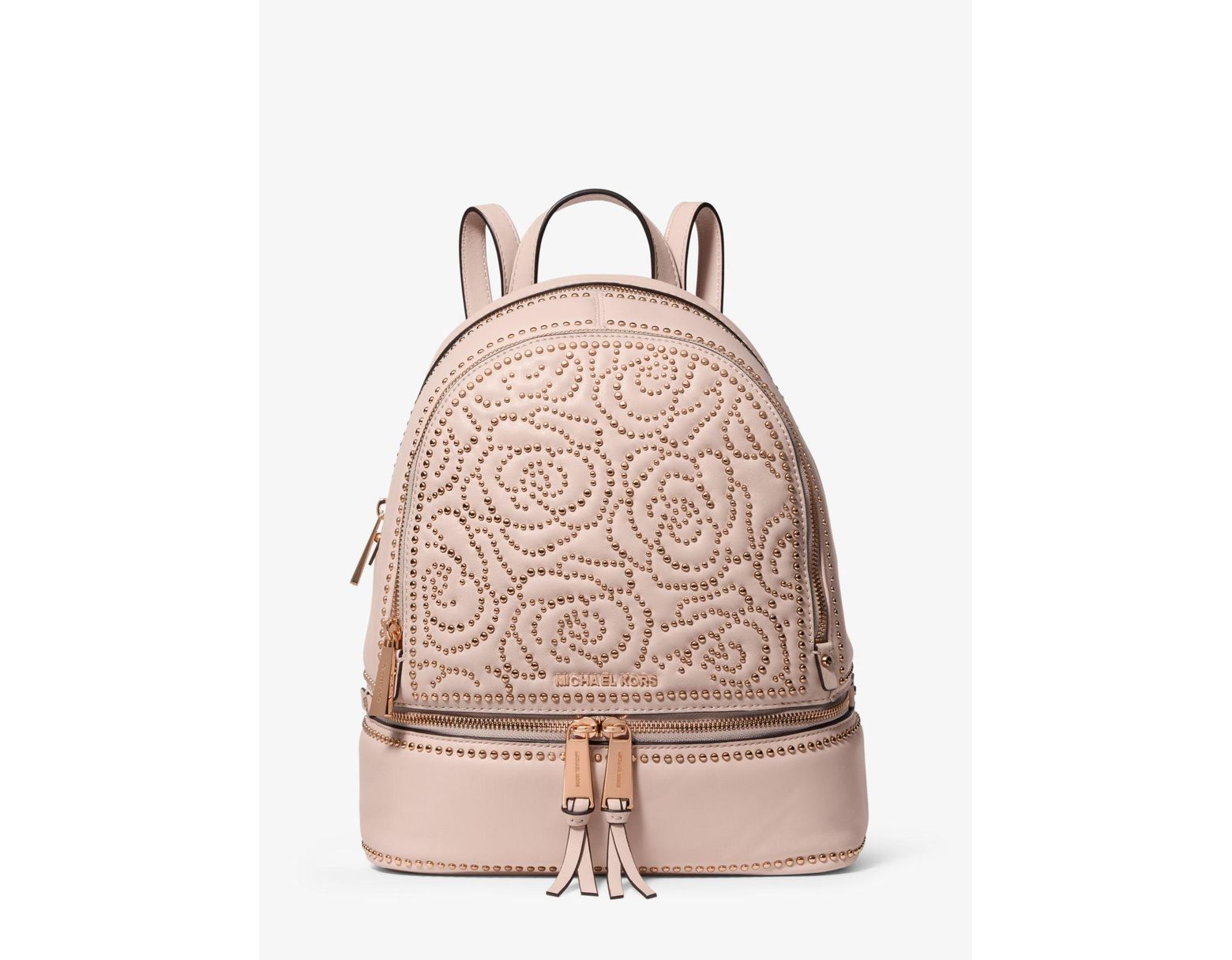 0abf835e058d Michael Kors Rhea Medium Rose Studded Leather Backpack in Pink - Save 57% -  Lyst