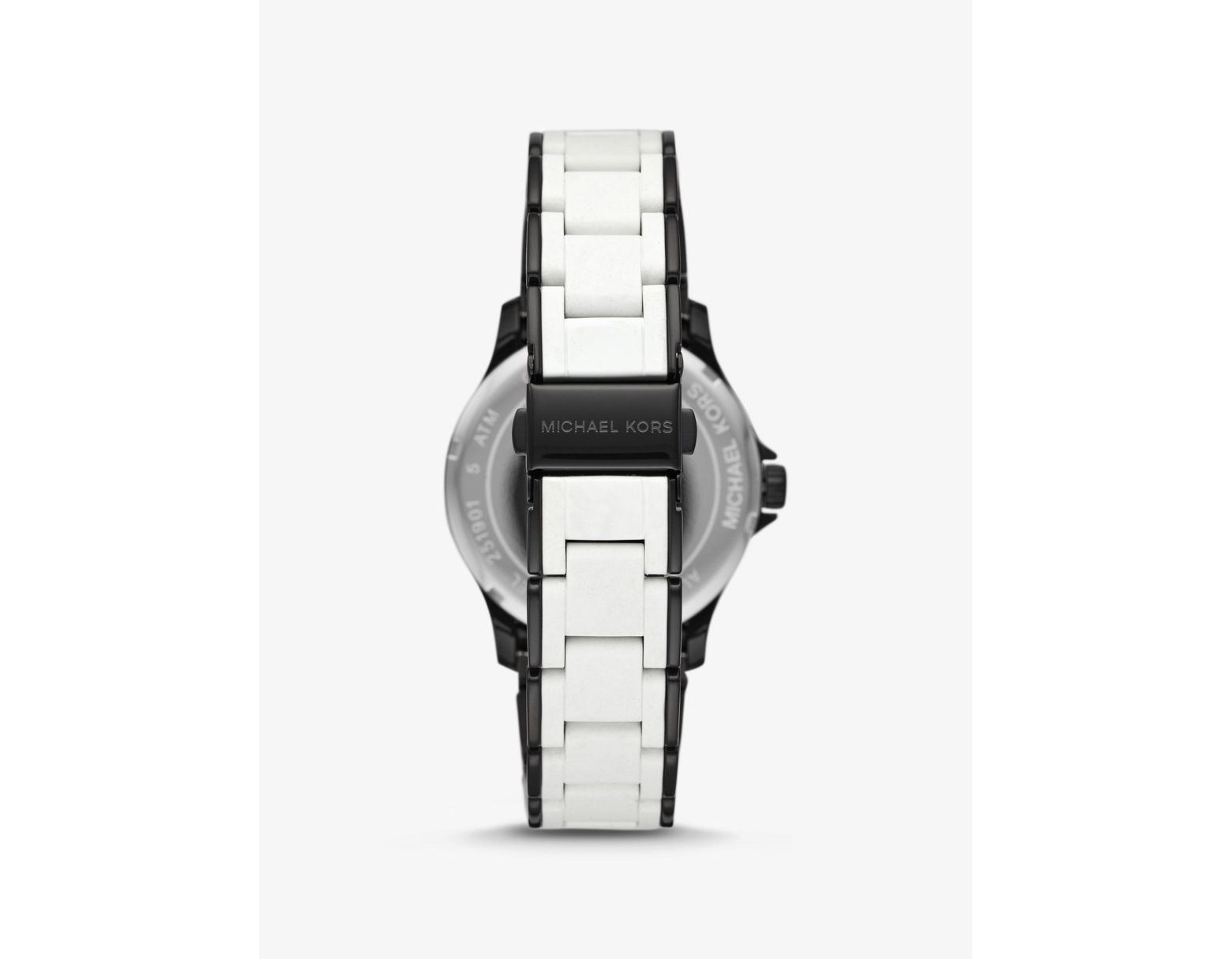 82cf972d776c Lyst - Michael Kors Reid Black-tone And Silicone Watch in White