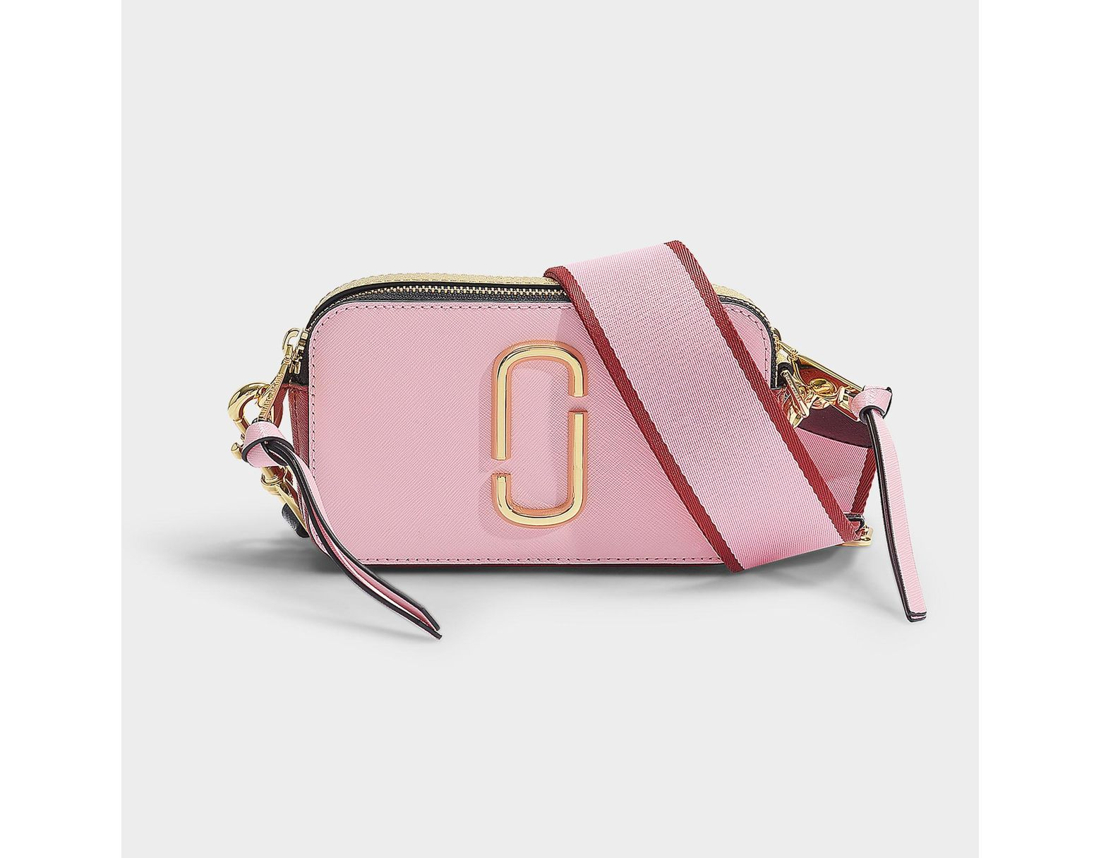 d02f3666bc Marc Jacobs Snapshot Bag In Baby Pink And Red Leather With Polyurethane  Coating in Pink - Lyst