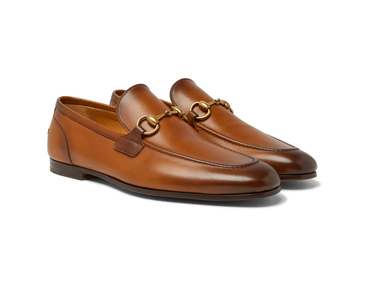 db8a26a44 Gucci Jordaan Horsebit Burnished-leather Loafers in Brown for Men - Lyst