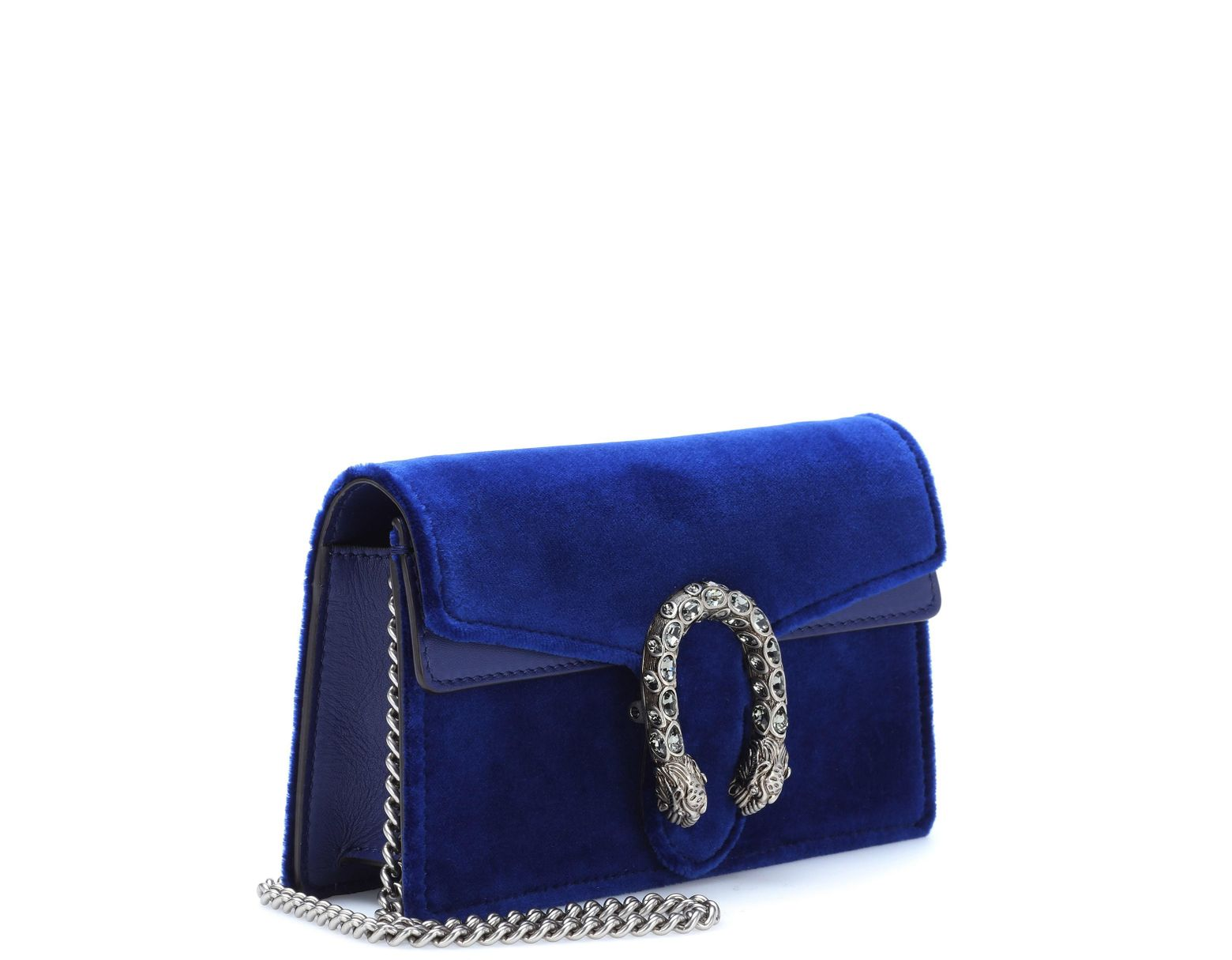 37178737218cdc Gucci Dionysus Velvet And Leather Clutch in Blue - Lyst