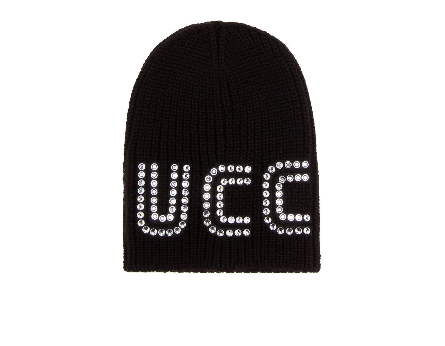 e1247e915e0 Gucci Crystal-embellished Wool Beanie in Black - Save 42% - Lyst