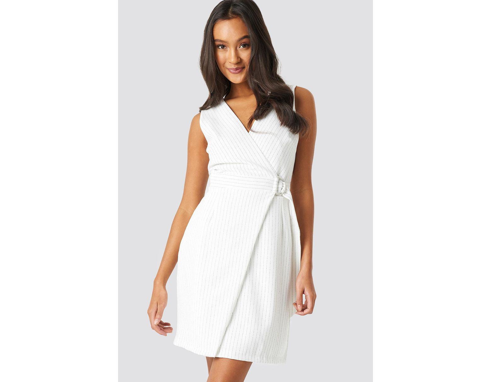faf1cf27a Trendyol Buckle Detailed Dress White in White - Lyst
