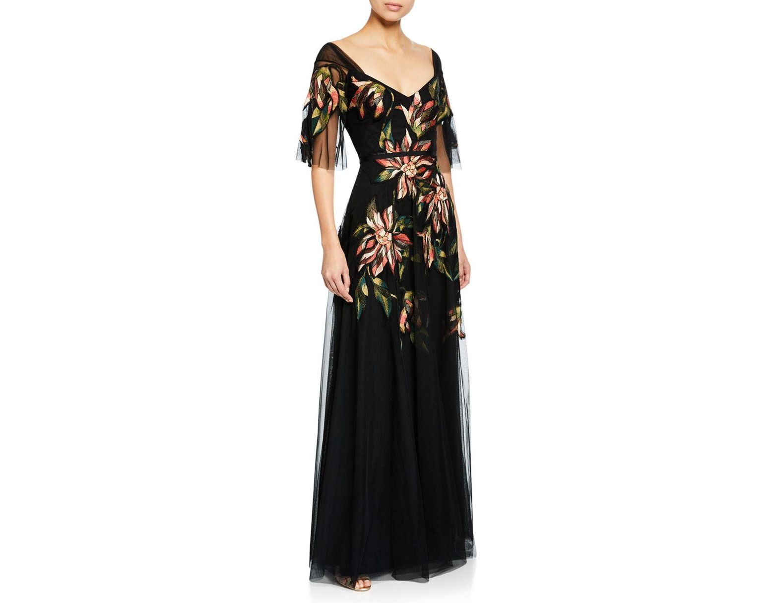 38713f6c Marchesa notte V-neck Half-sleeve Floral Embroidered Tulle A-line Gown in  Black - Save 25% - Lyst