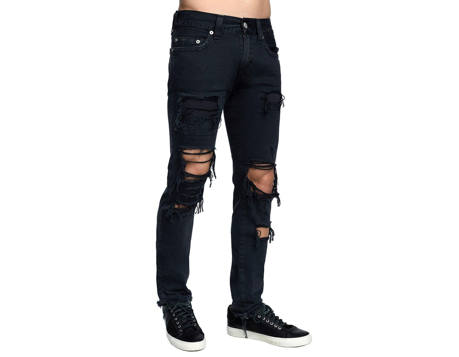 83cbc0814d2 True Religion Men s Rocco Skinny Destroyed Denim Jeans in Blue for Men -  Save 57% - Lyst