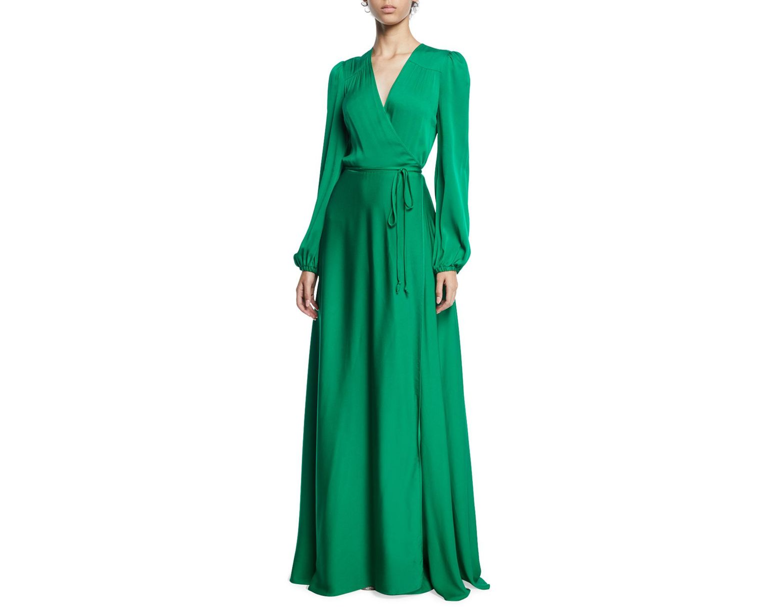 2663280c1b43 MILLY Gina Long-sleeve Stretch Silk Wrap Gown in Green - Save 33% - Lyst