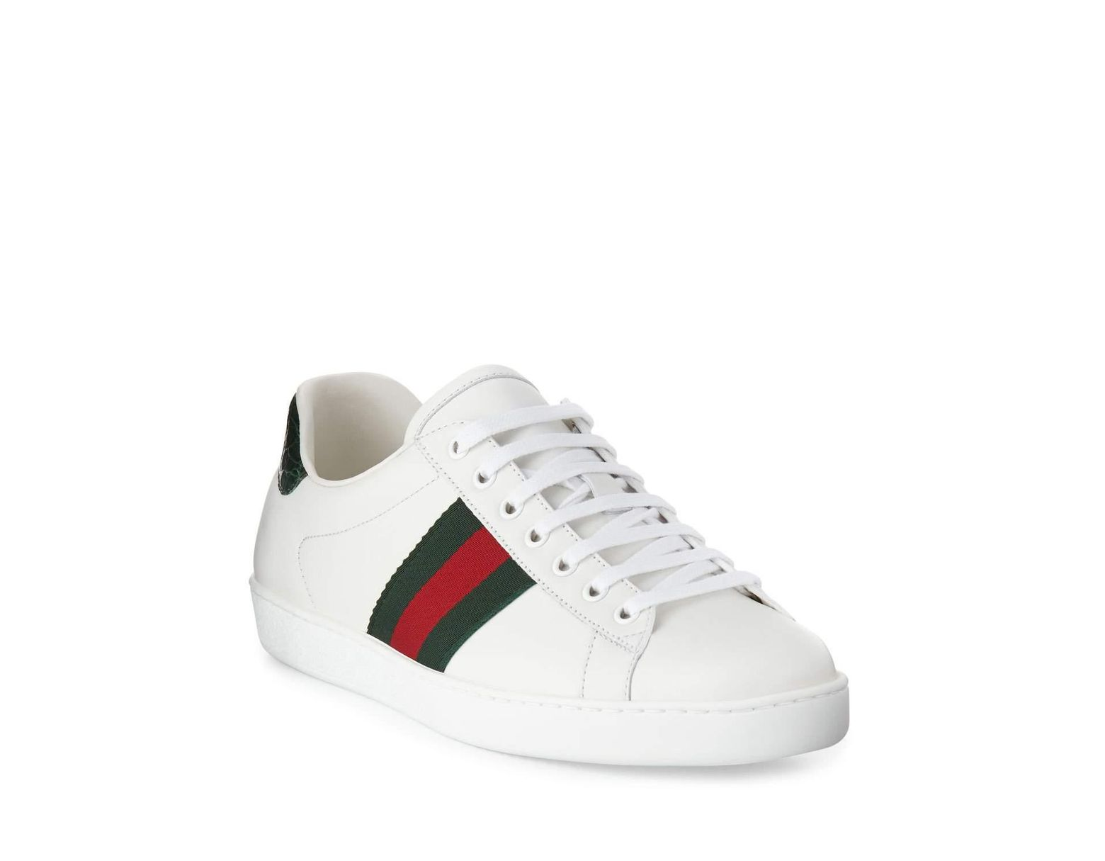 8705a311dee Lyst - Gucci Men s New Ace Leather Low-top Sneakers in White for Men - Save  5%