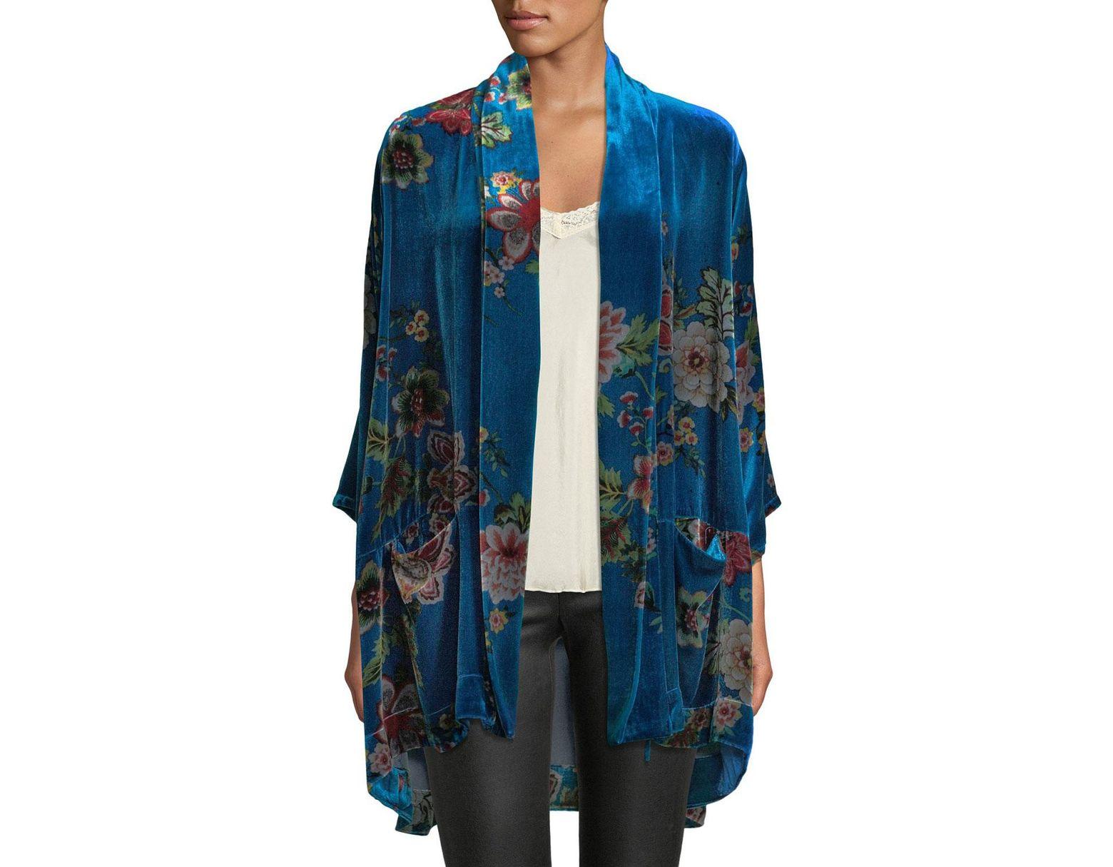 38ec458d5 Johnny Was Plus Size Vivian Printed Velvet Kimono Jacket in Blue - Save 42%  - Lyst