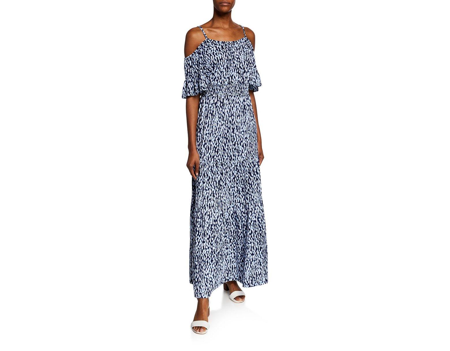 70dc6558cd7 Michael Kors Michael Ikat-print Cold-shoulder Maxi Dress in Blue - Lyst