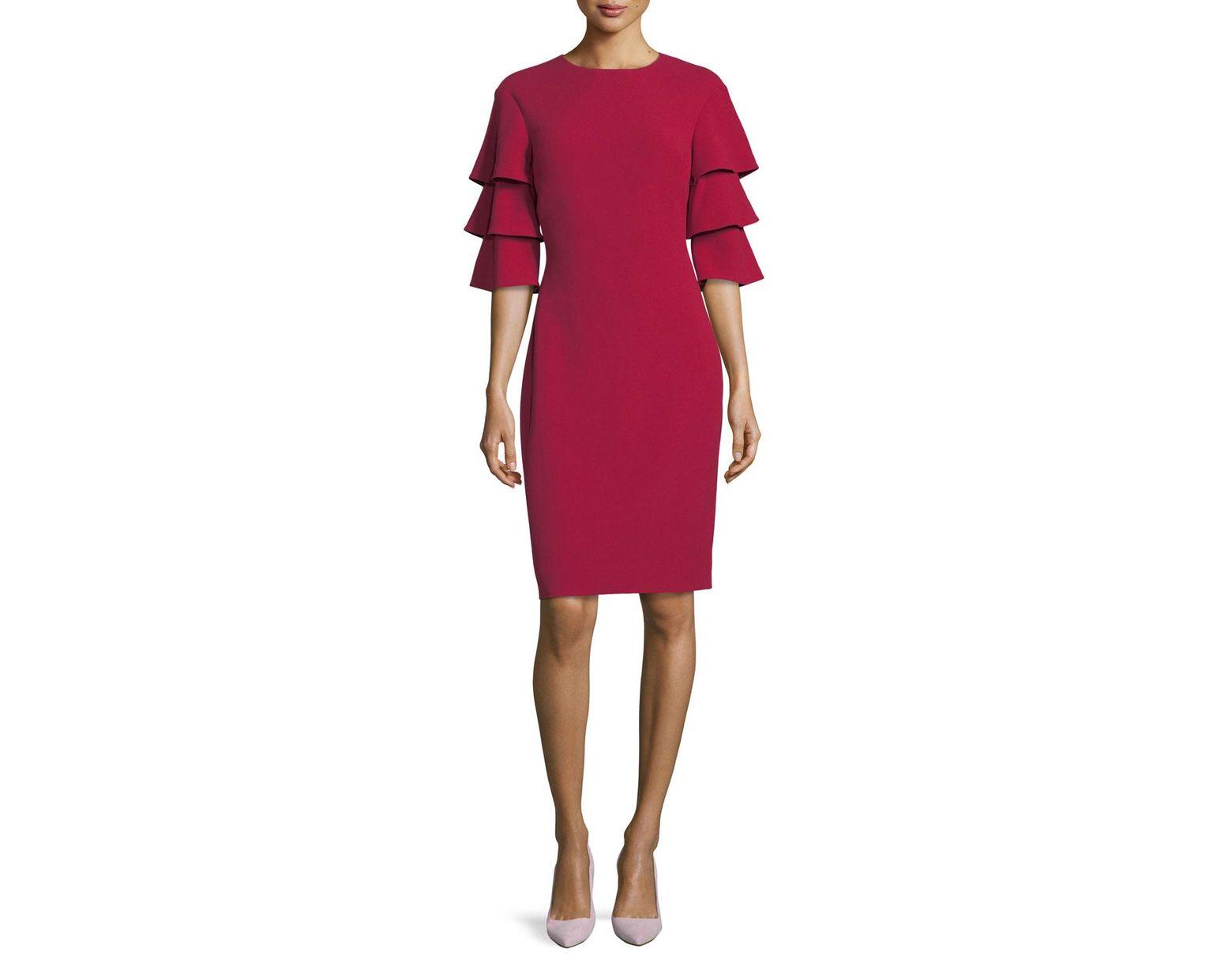 565f2b08c39e Lyst - Teri Jon 3-tier-sleeve Crepe Sheath Cocktail Dress in Red