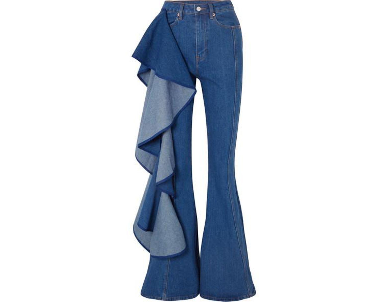 50dd013dacb25b Solace London Trumpet Ruffled High-rise Wide-leg Jeans in Blue - Lyst