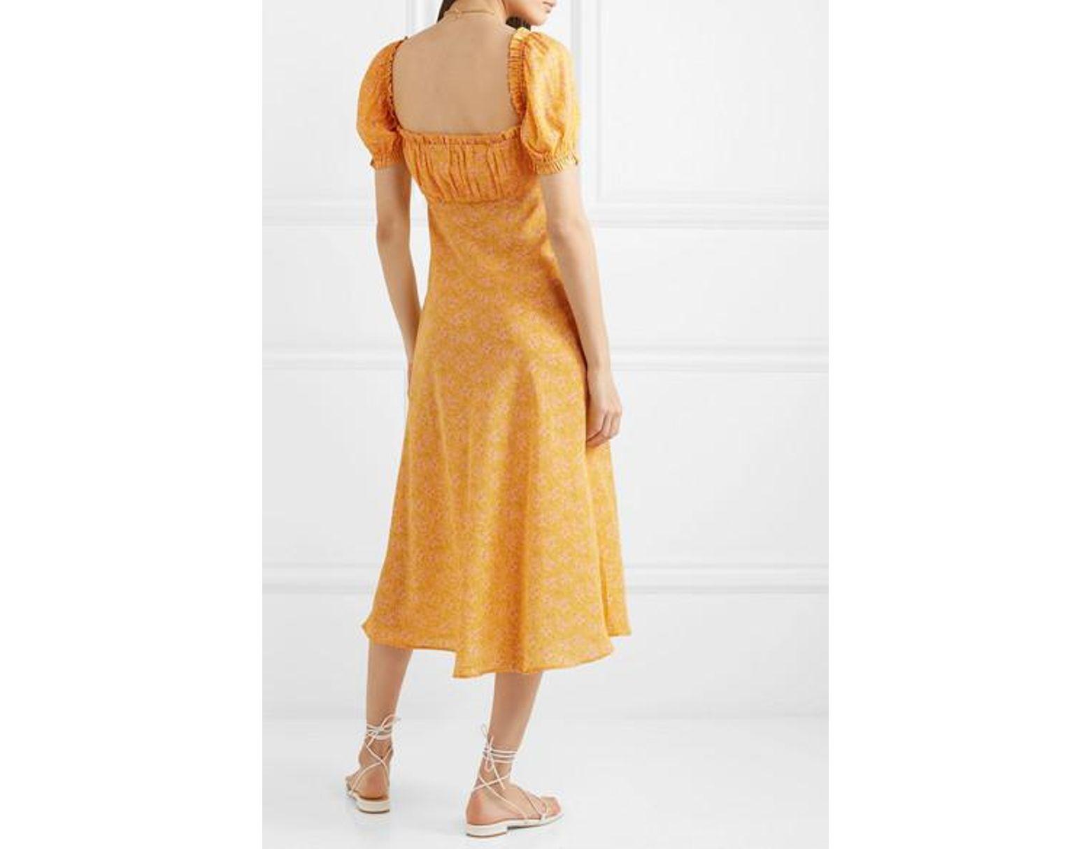 c55b6f2c54b0 RIXO London Tammy Ruffled Floral-print Silk-georgette Dress in Yellow - Lyst