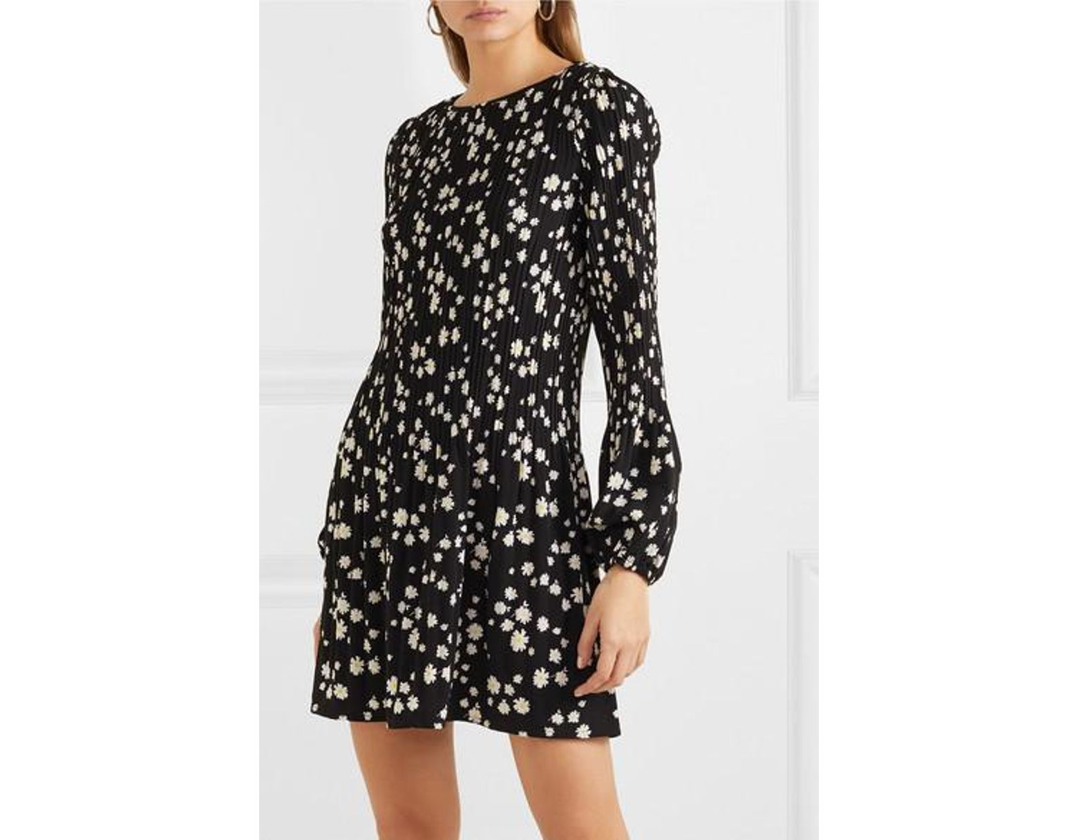 0c269b43c09 Maje Rockiz Daisy Print Long Sleeve Dress in Black - Save 30% - Lyst