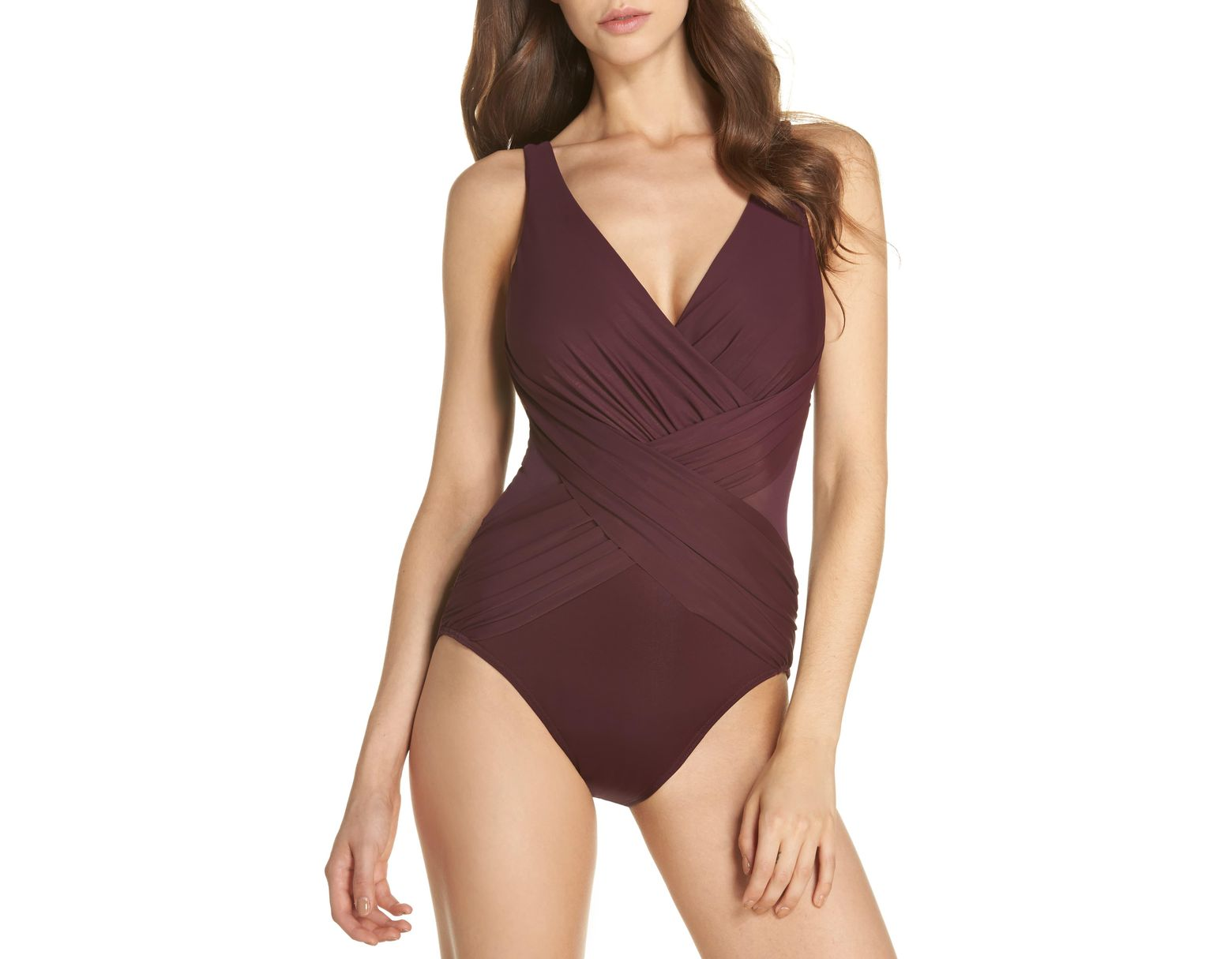 43a32f3cbd508 Miraclesuit Miraclesuit Illusionist Crossover One-piece Swimsuit in Purple  - Save 62% - Lyst