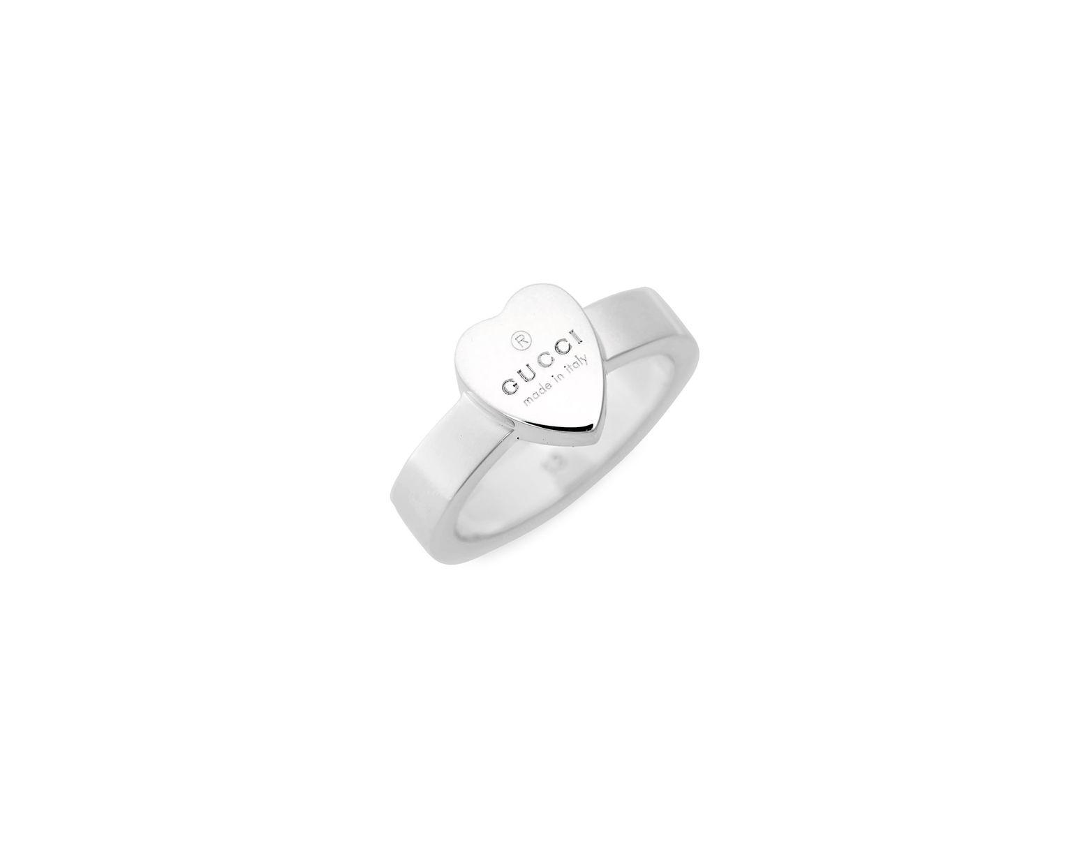 5611c6062d408b Gucci Trademark Heart Ring in Metallic - Lyst
