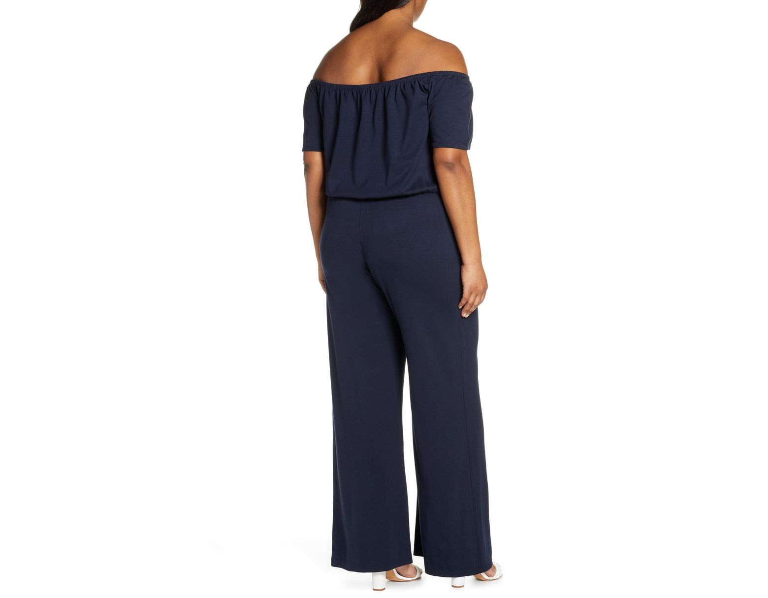 31f17f7ea1 Lyst - Gibson X Living In Yellow Iris Off The Shoulder Ponte Knit Jumpsuit  in Blue