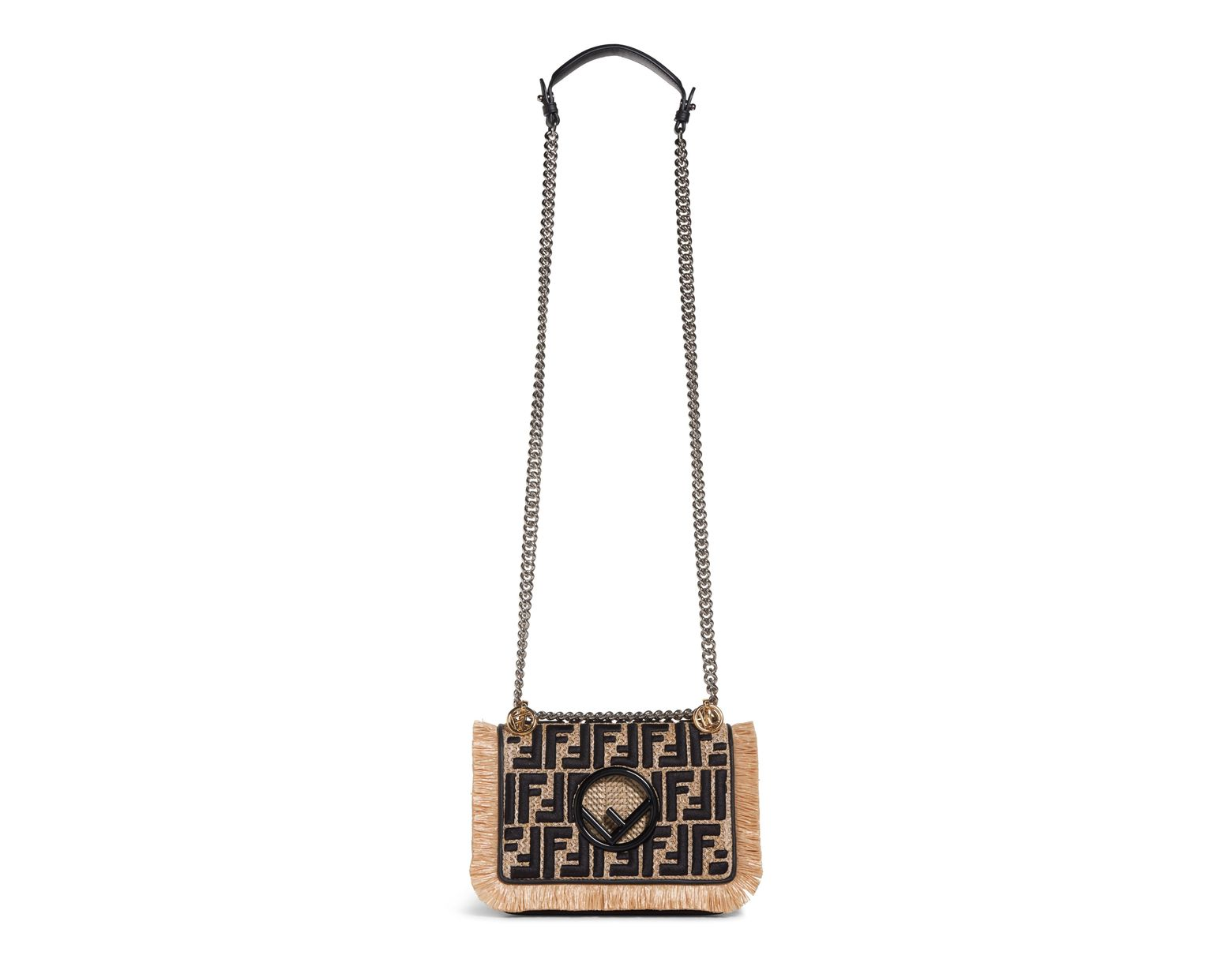 02362be49a53 Lyst - Fendi Kan I Raffia   Leather Small Shoulder Bag -