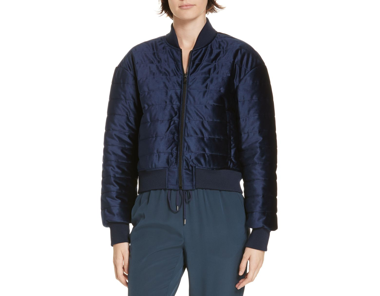 a6826046b Tibi Quilted Velvet Crop Bomber Jacket in Blue - Save 60% - Lyst