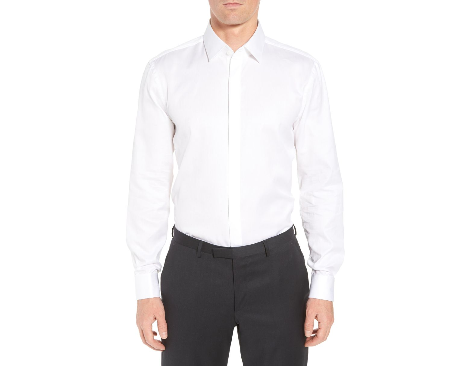 1320ec7f BOSS Myron Sharp Fit Tuxedo Shirt in White for Men - Lyst