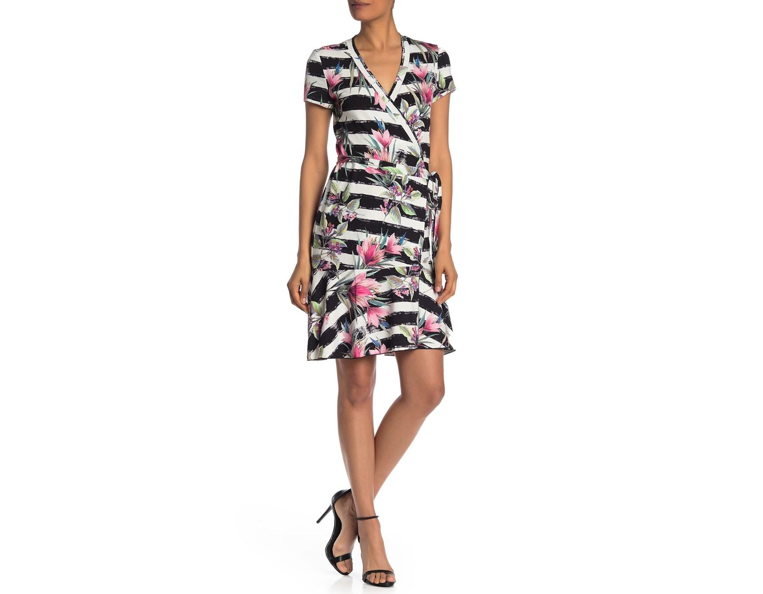 50a69a422ff Nicole Miller Claudette Stripe & Floral Print Wrap Dress in White - Save  42% - Lyst