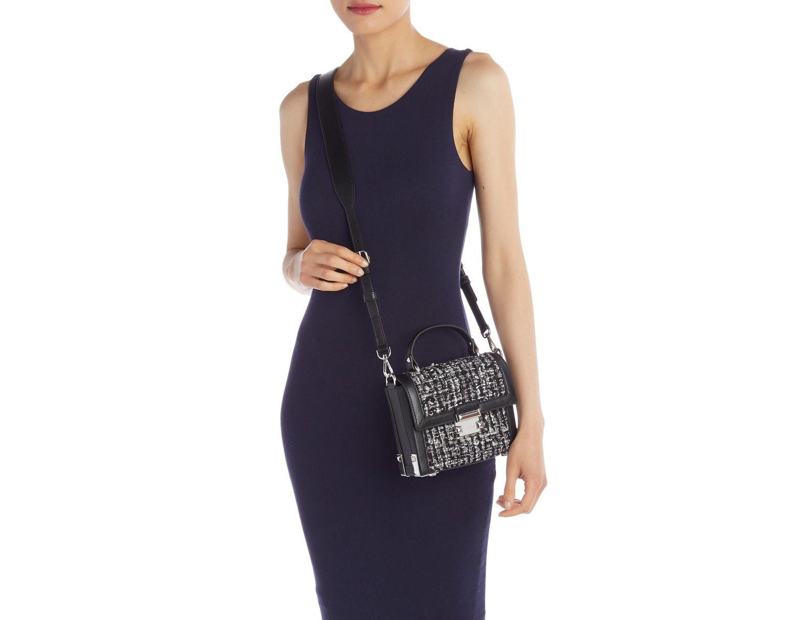 b793ce5195a8 MICHAEL Michael Kors Jayne Small Tweed Trunk Shoulder Bag in Black - Save  31% - Lyst