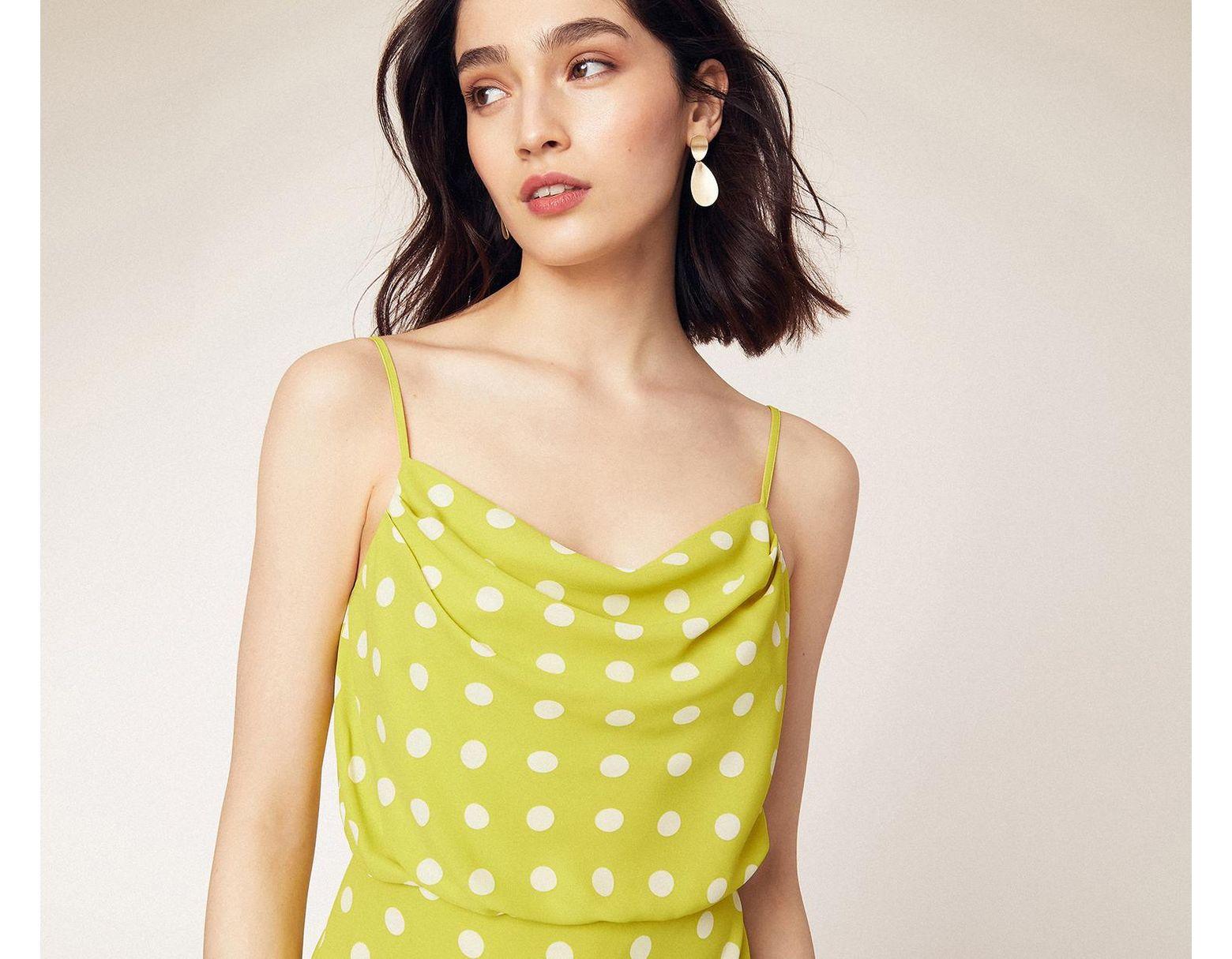 ec87b560563e Oasis Spot Cowl Neck Midi Dress in Yellow - Lyst