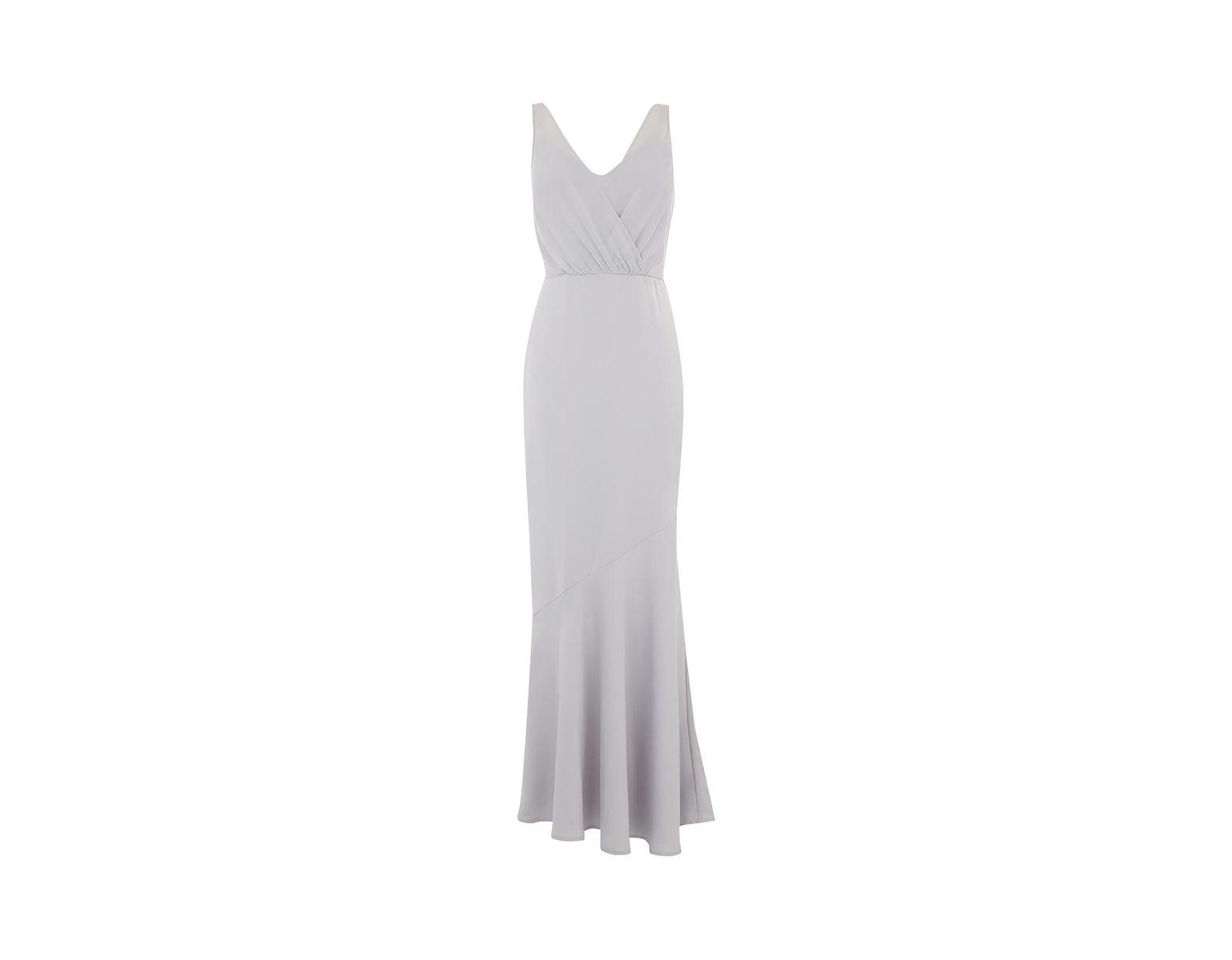 5f34f7658e6 Oasis Slinky Wrap Over Slinky Maxi Dress in Gray - Lyst