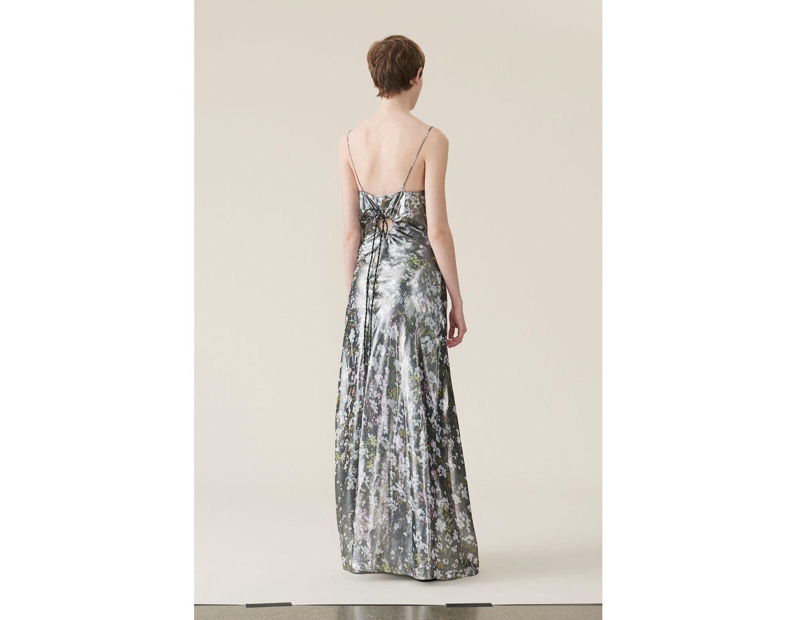 2533563b77d2 Ganni Lurex Silk Slip Dress in Black - Lyst