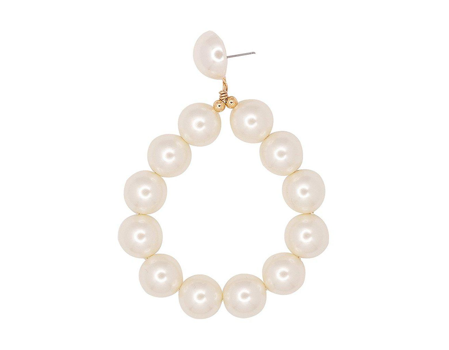 e405e5aab Kenneth Jay Lane Gold And White Pearl Ball Hoop Pierced Earrings in  Metallic - Lyst
