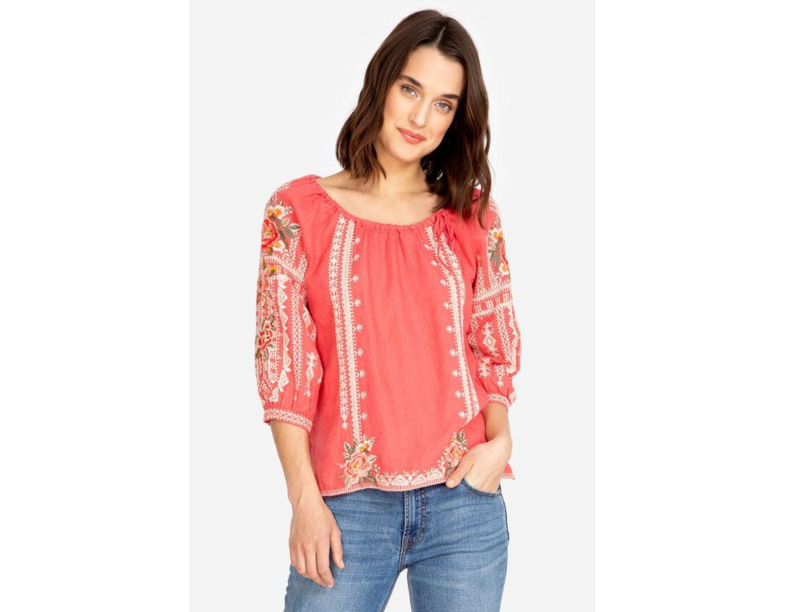 f66d3d483df792 Johnny Was Paola Peasant Tie Blouse in Pink - Lyst