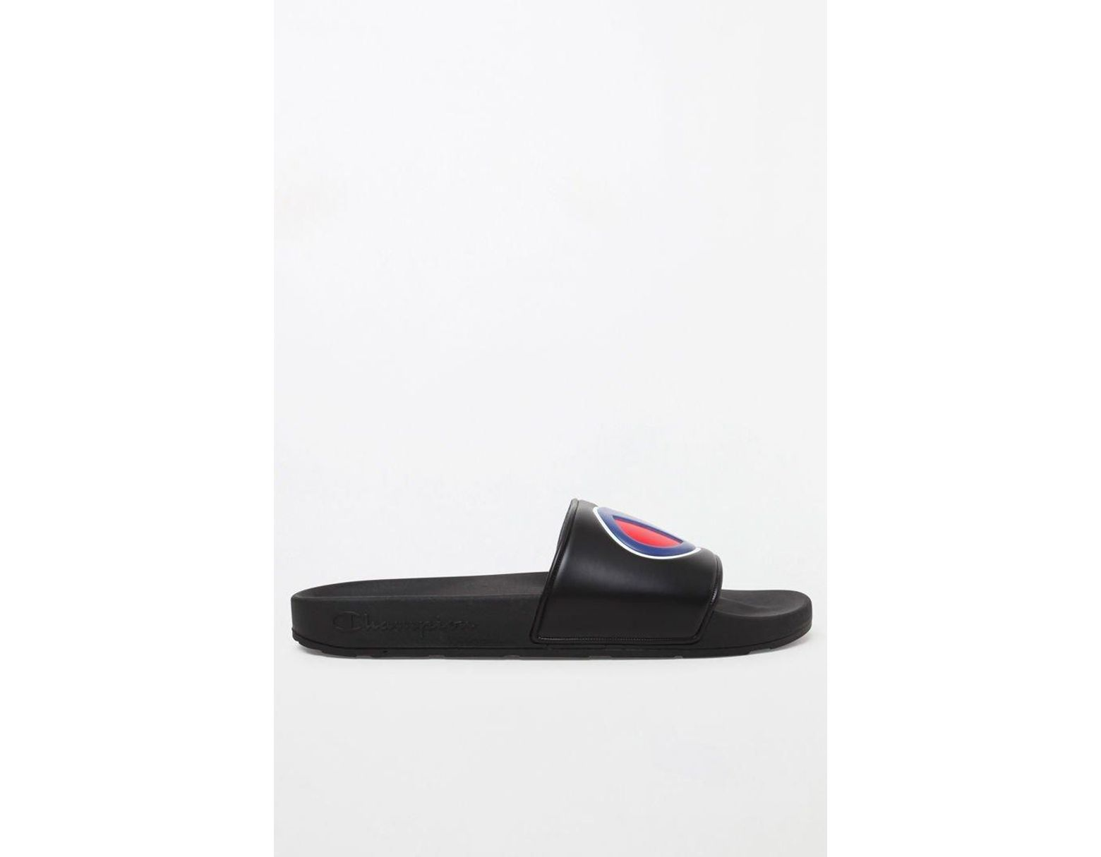 99ba25789e52 Lyst - Champion Black Logo Pool Slides in Black for Men - Save 66%