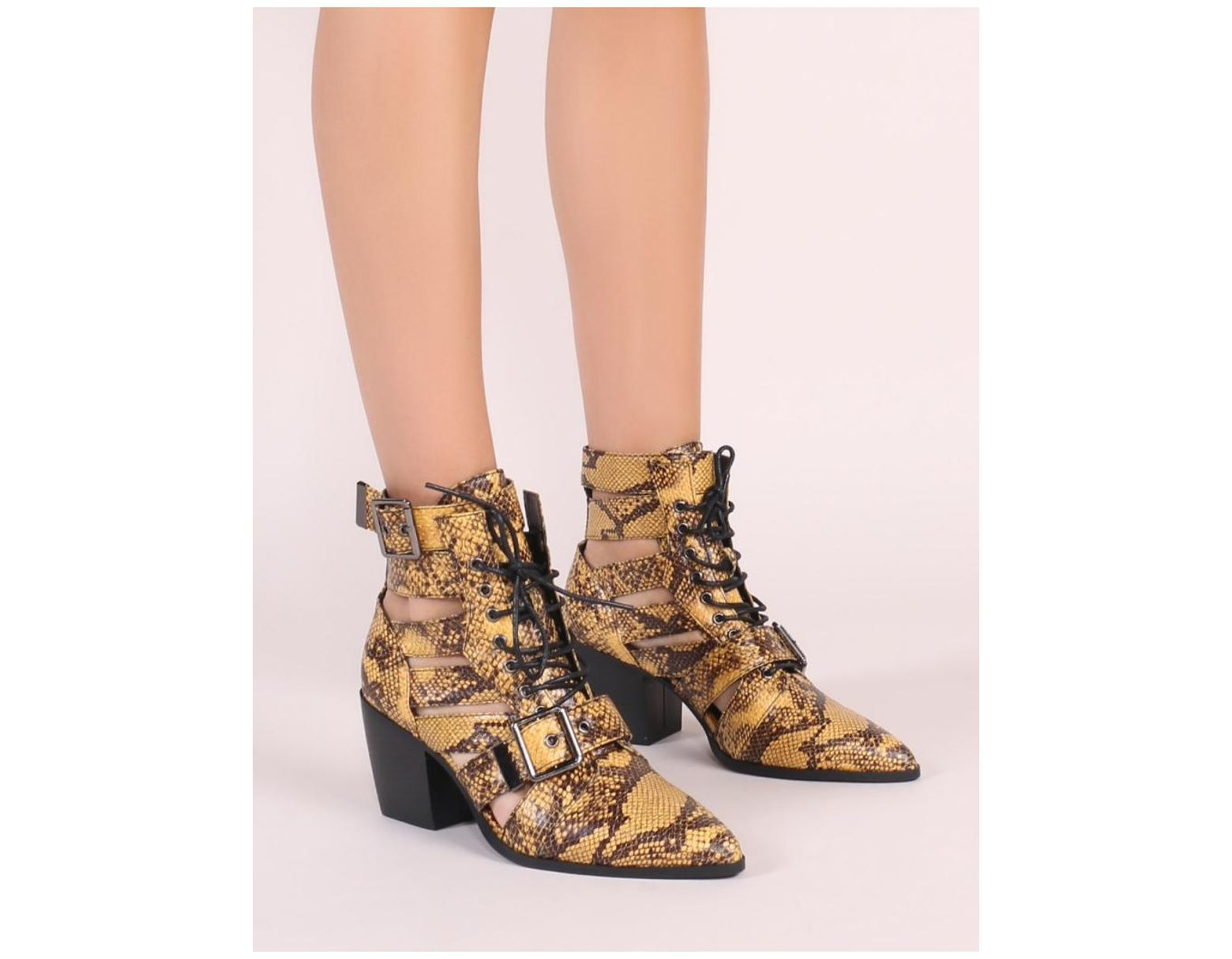 9dd15f9575fd Public Desire Zara Lace Up Ankle Boots In Yellow Snake Print in Yellow -  Lyst