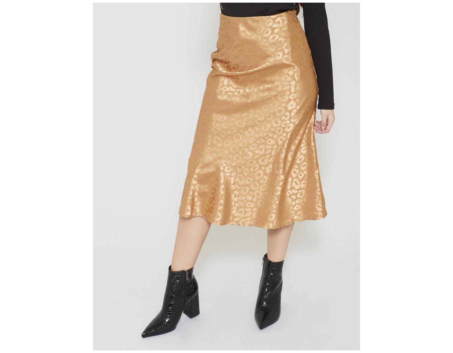 70100828f Public Desire Gold Leopard Print Satin Midi Skirt in Metallic - Lyst