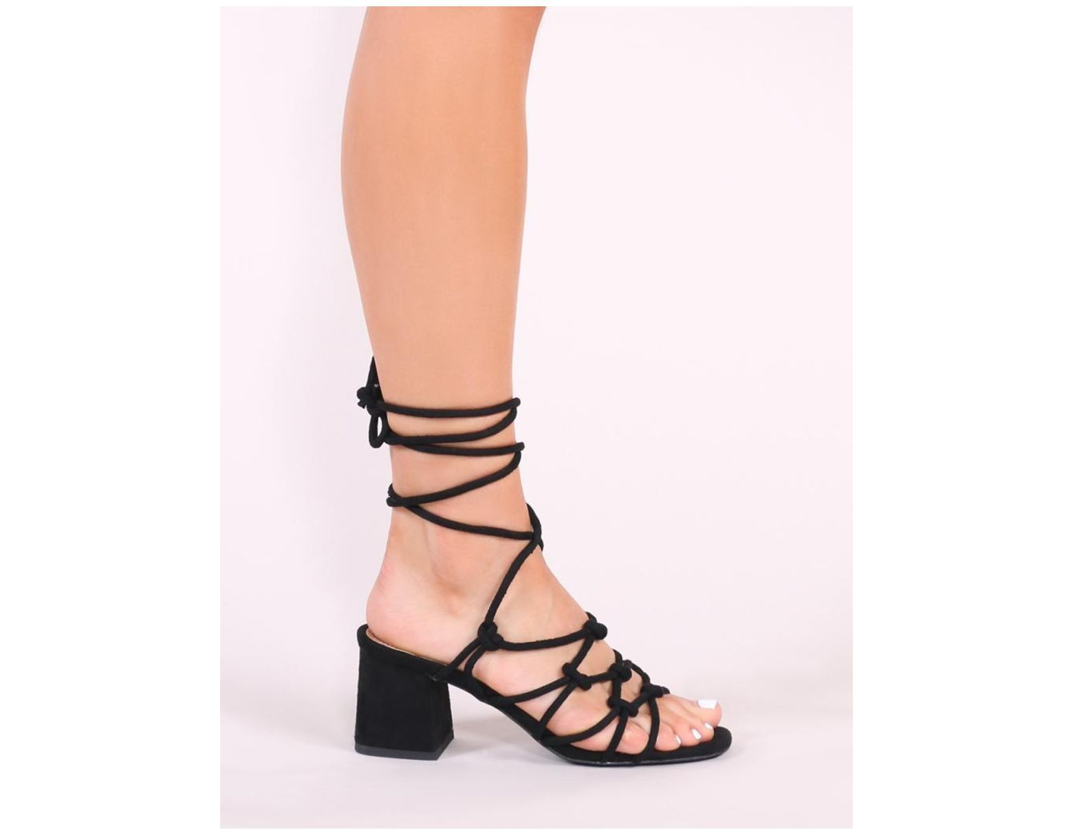 d846060f707a Public Desire Freya Knotted Strappy Block Heeled Sandals In Black Faux Suede  in Black - Lyst