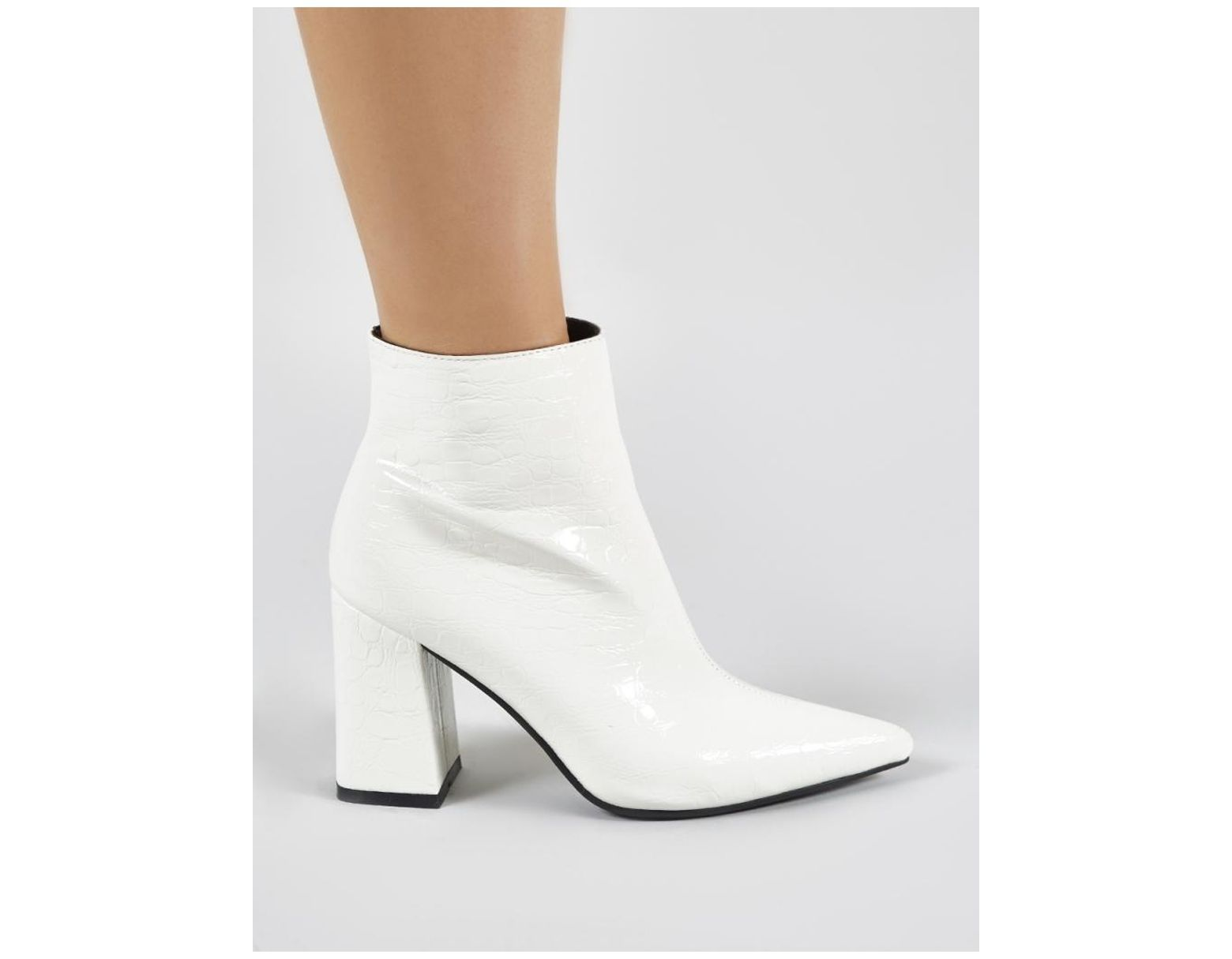 ed8ce4489a9 Public Desire Hollie Pointed Toe Ankle Boots In White Croc in White - Save  36% - Lyst
