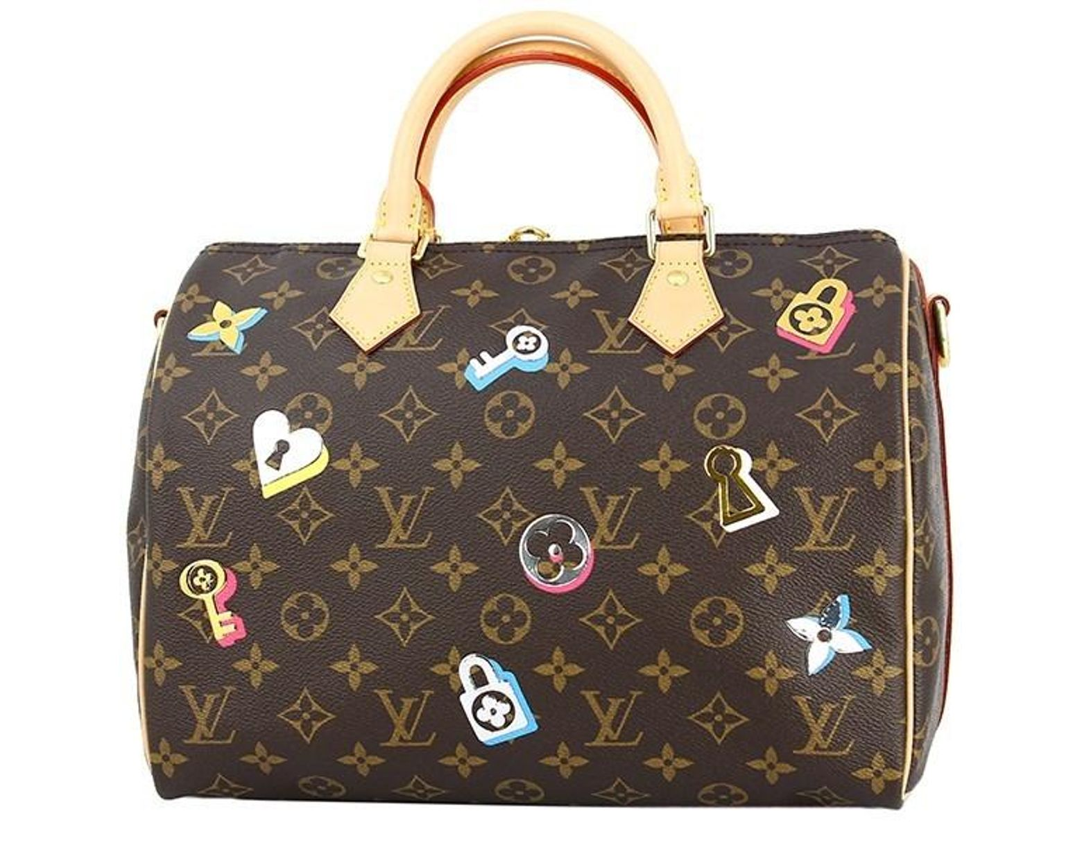 578e199ade7f Lyst - Louis Vuitton Speedy Bandouliere 30 Monogram Love Lock Handbag  Shoulder Bag  new  in Brown