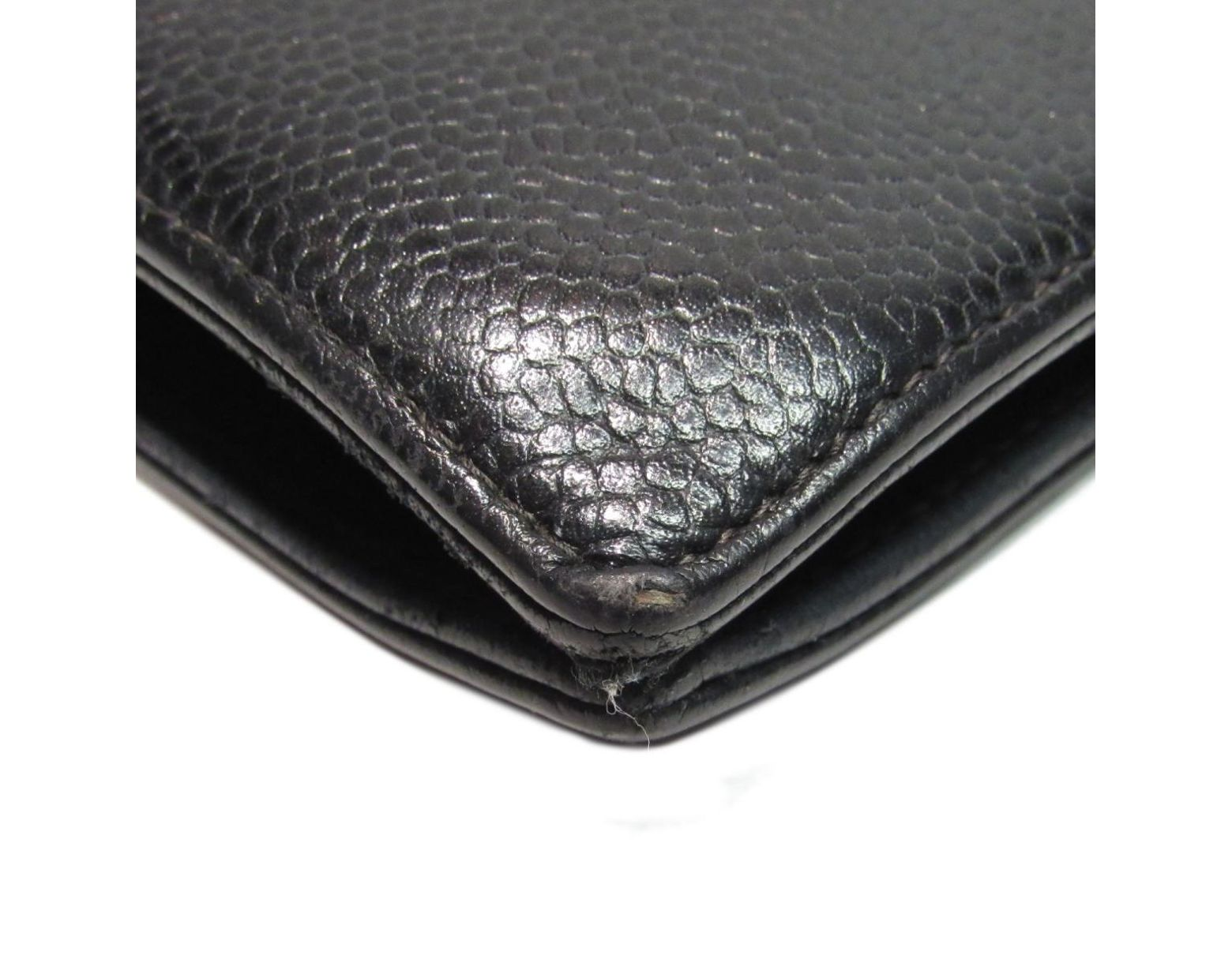 7d831ba4c48b Chanel Authentic Cc Bi-fold Long Wallet Purse Caviar Leather Black Used  Vintage in Black - Lyst