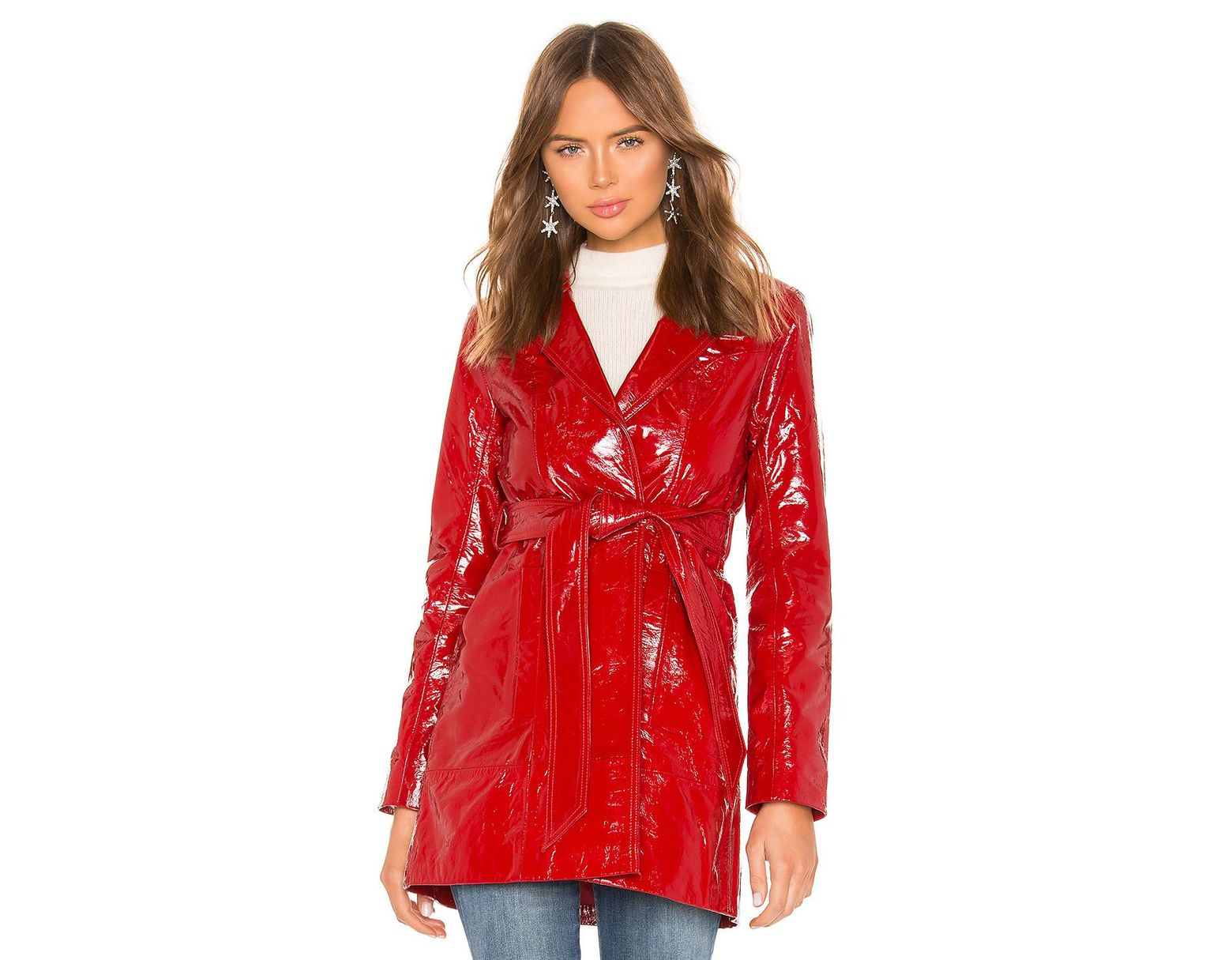 0bc16aacc9cf8 LPA Cropped Patent Trench in Red - Lyst
